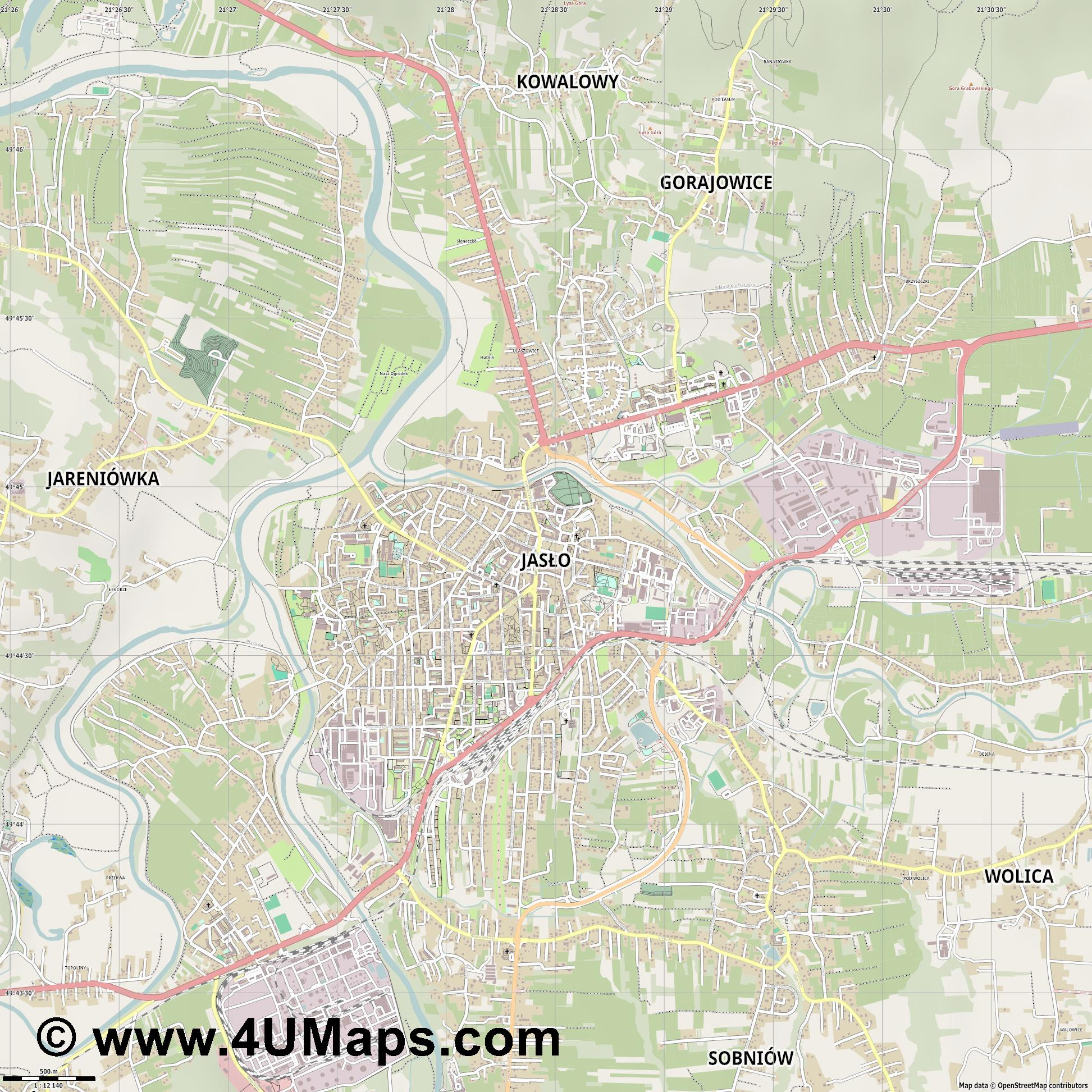 Jasło Jassel  jpg ultra high detail preview vector city map