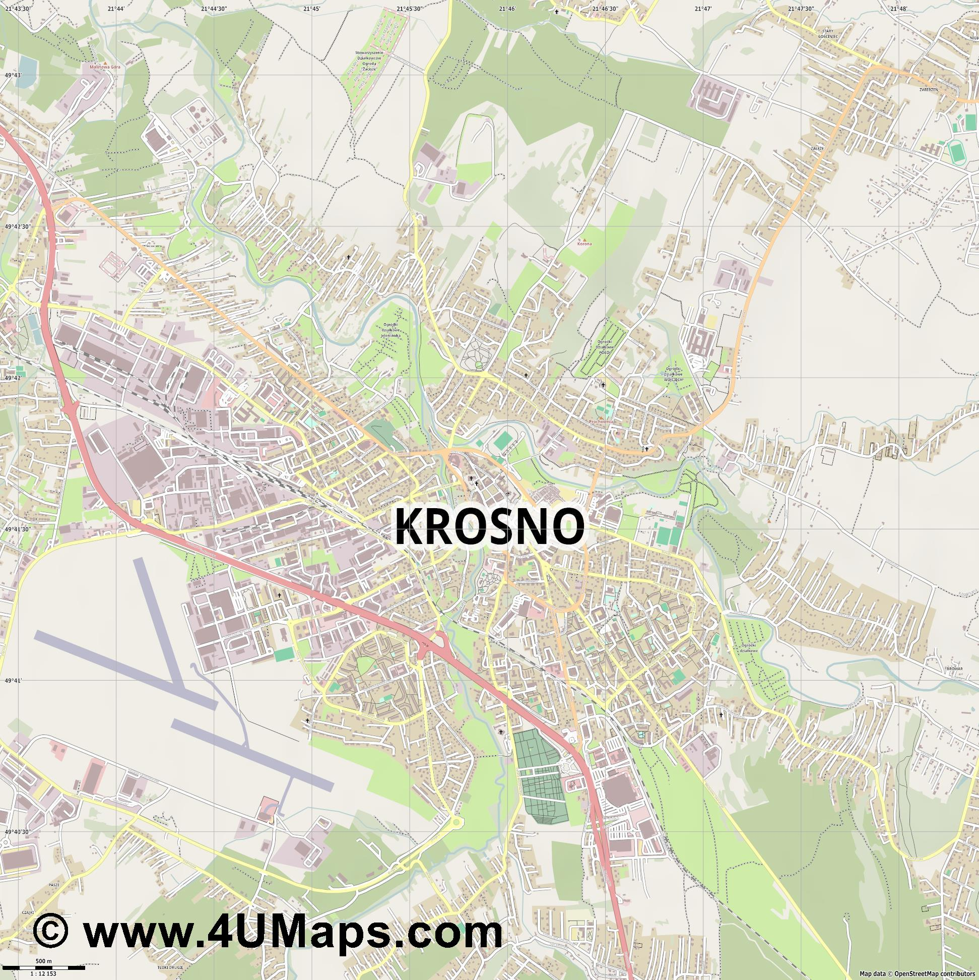 Krosno Krossen  jpg ultra high detail preview vector city map