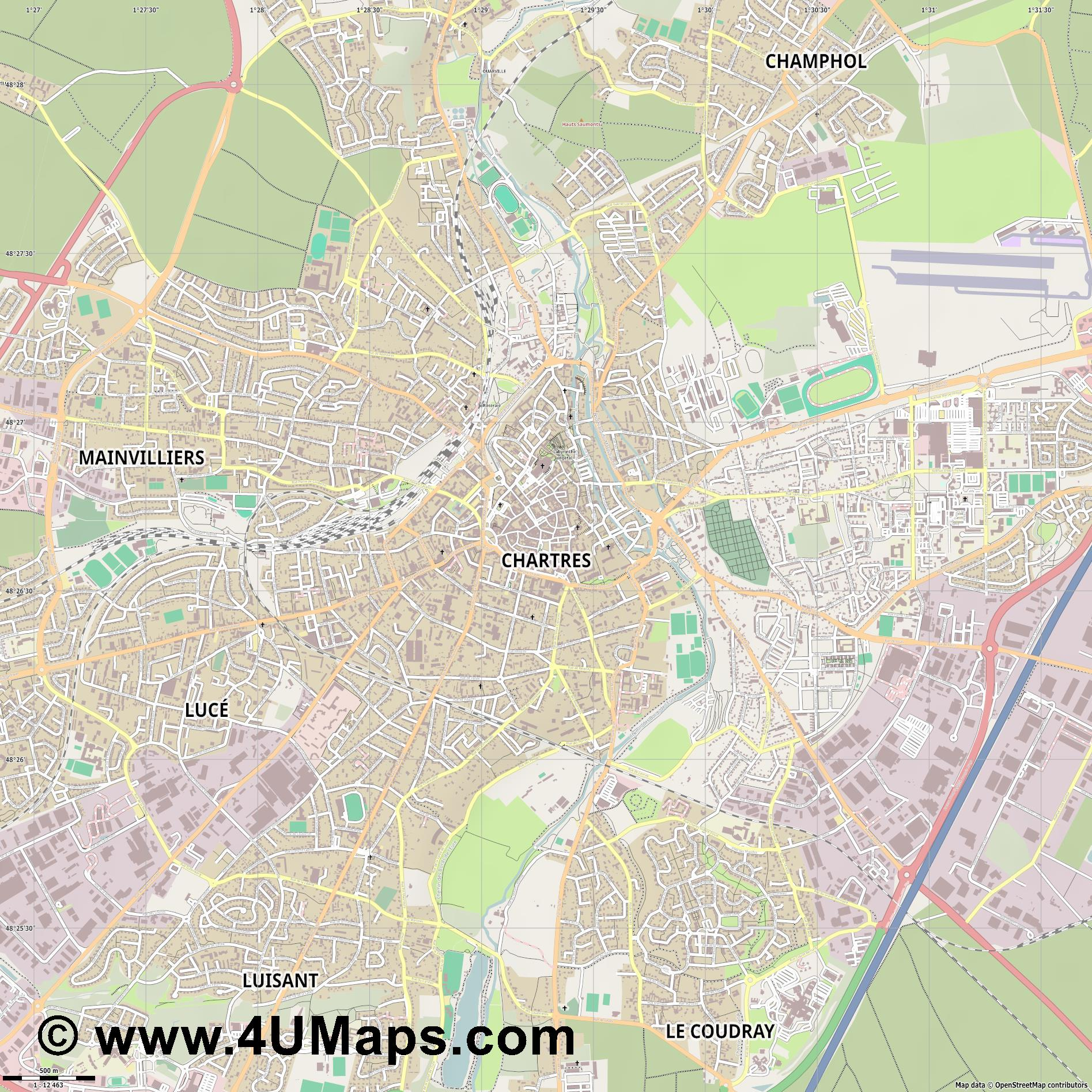 Chartres  jpg ultra high detail preview vector city map