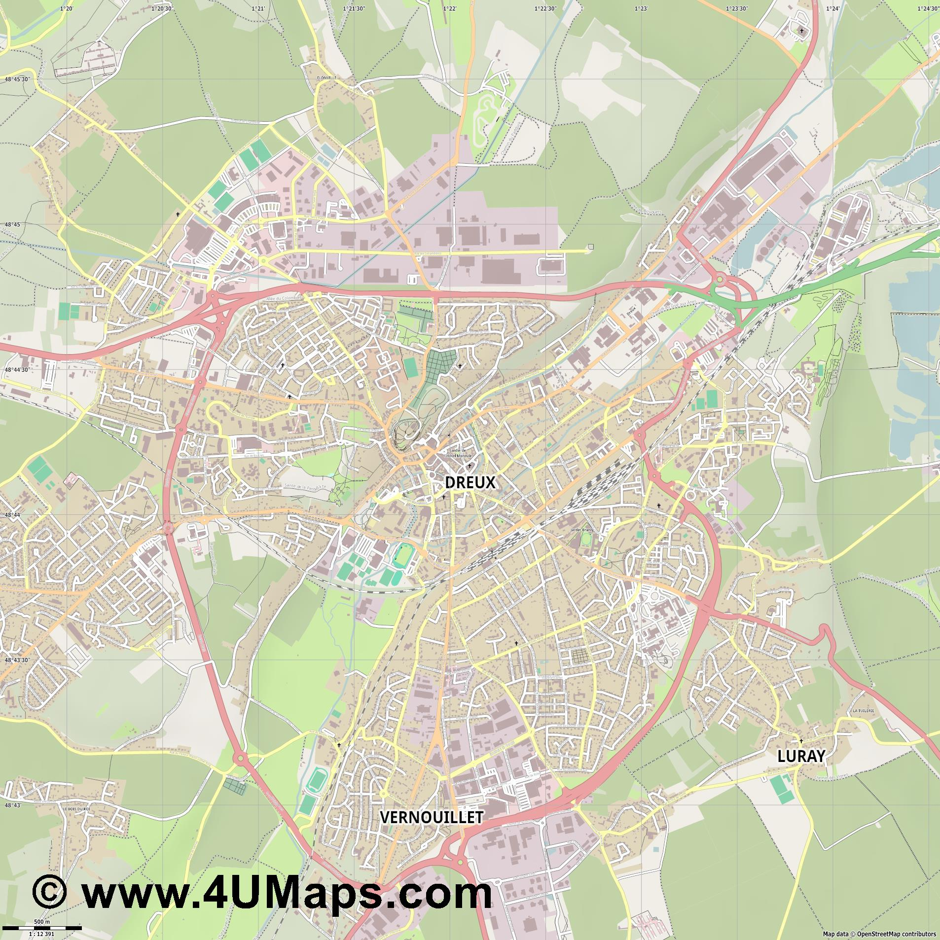 Dreux  jpg ultra high detail preview vector city map