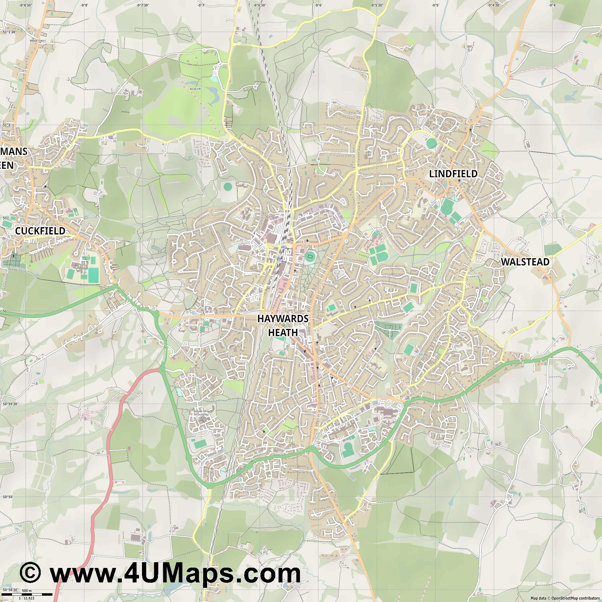 Haywards Heath  jpg ultra high detail preview vector city map
