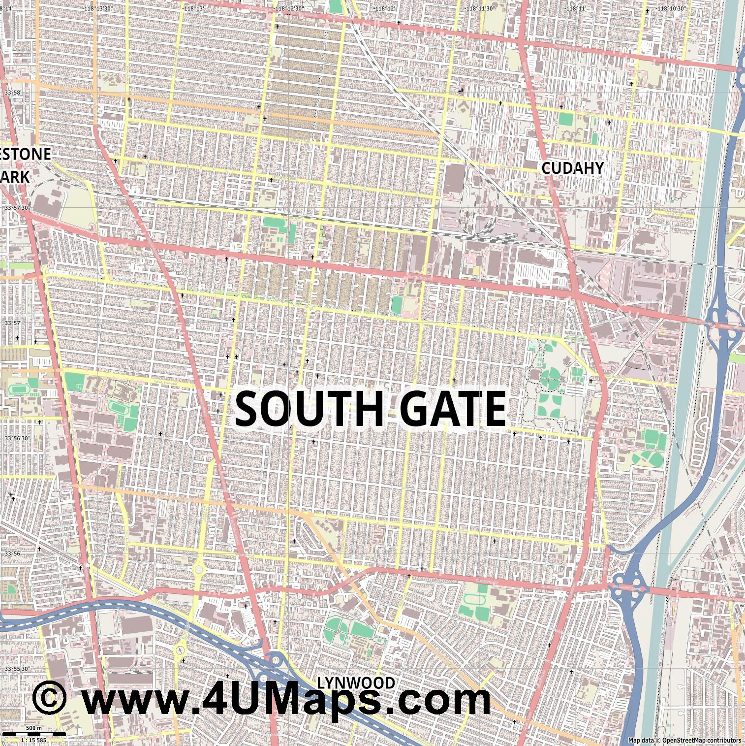 South Gate  jpg ultra high detail preview vector city map