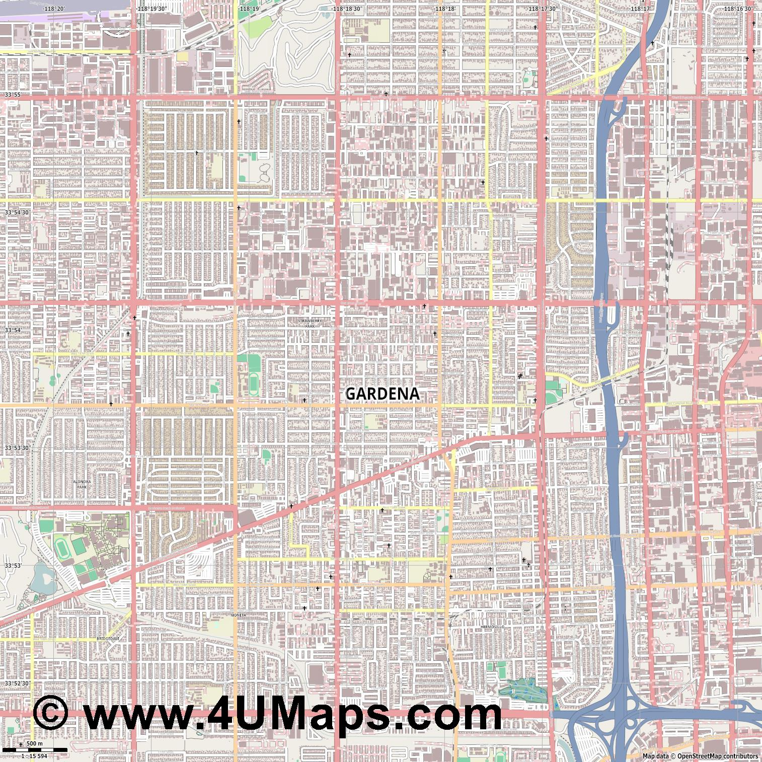 Gardena  jpg ultra high detail preview vector city map