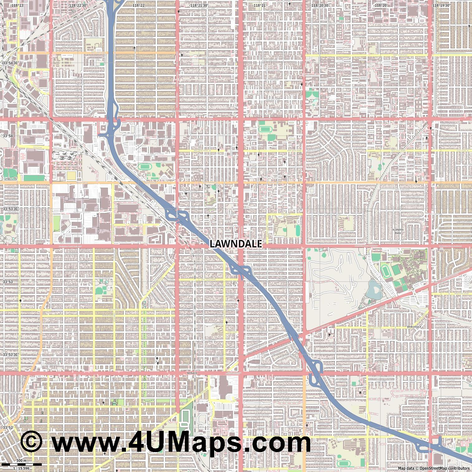 Lawndale  jpg ultra high detail preview vector city map