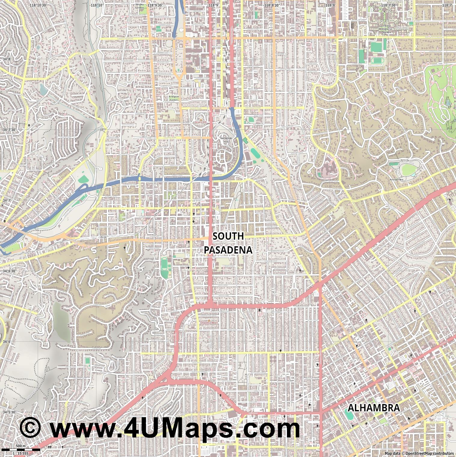 South Pasadena  jpg ultra high detail preview vector city map