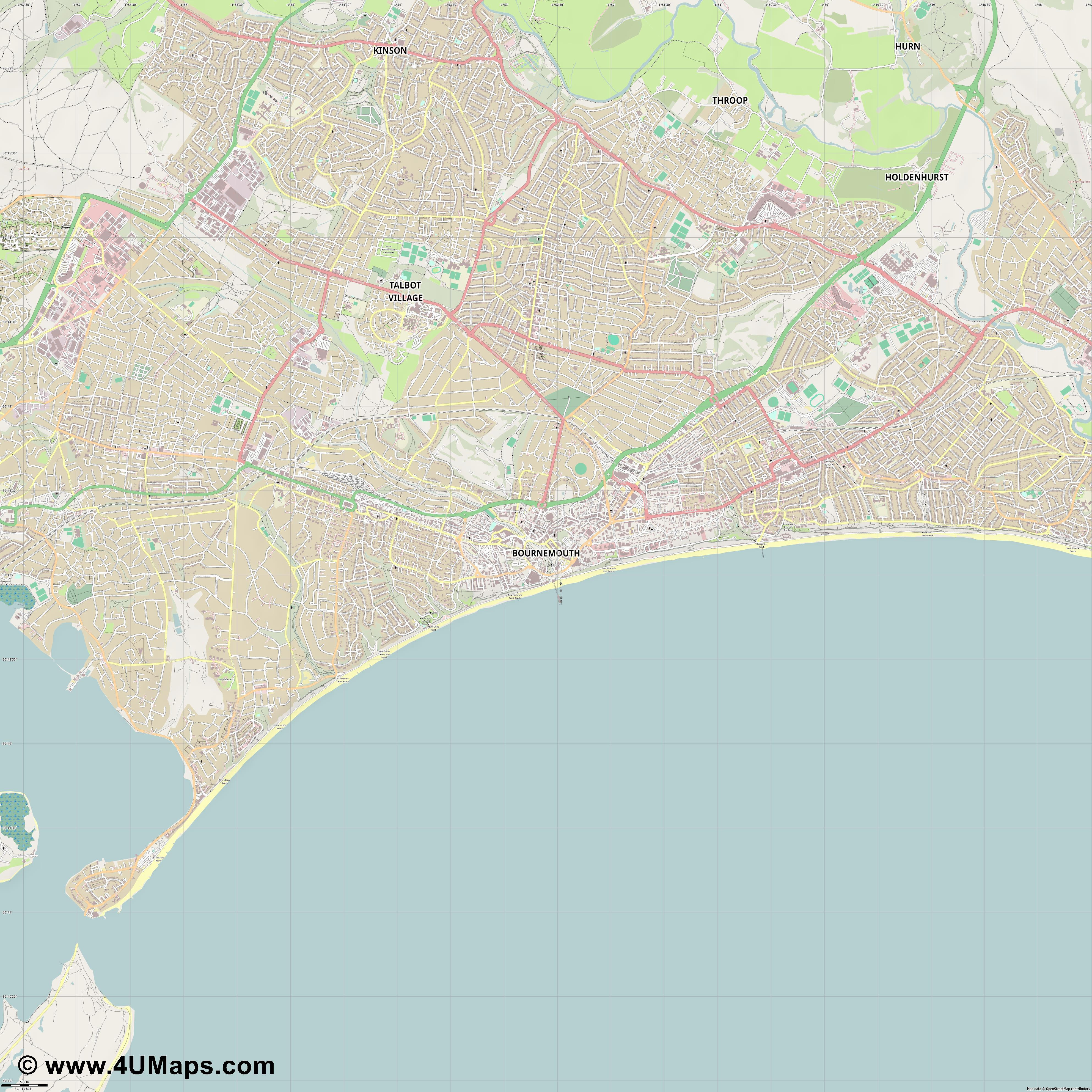 Bournemouth  jpg ultra high detail preview vector city map
