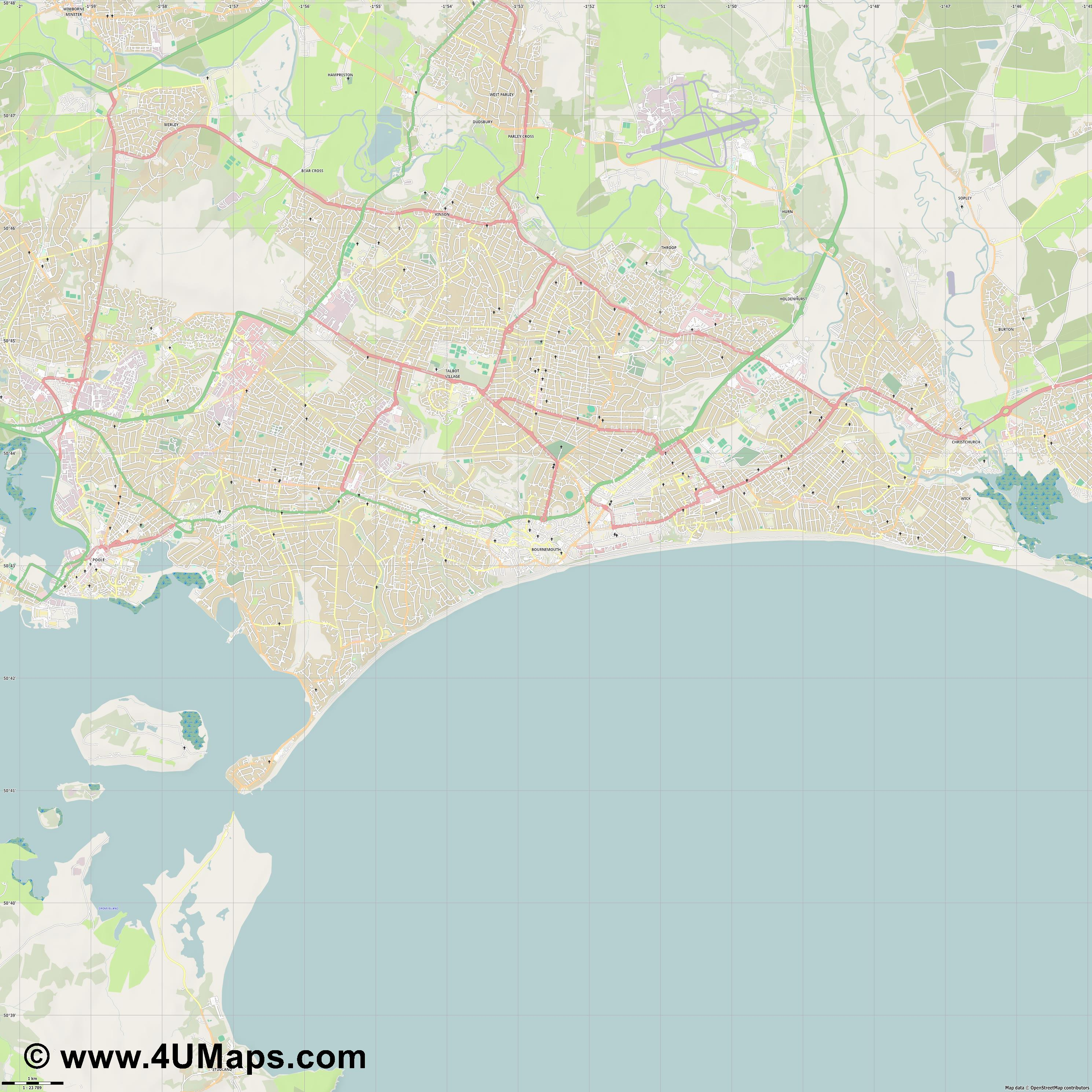 Bournemouth  jpg high detail, large area preview vector city map