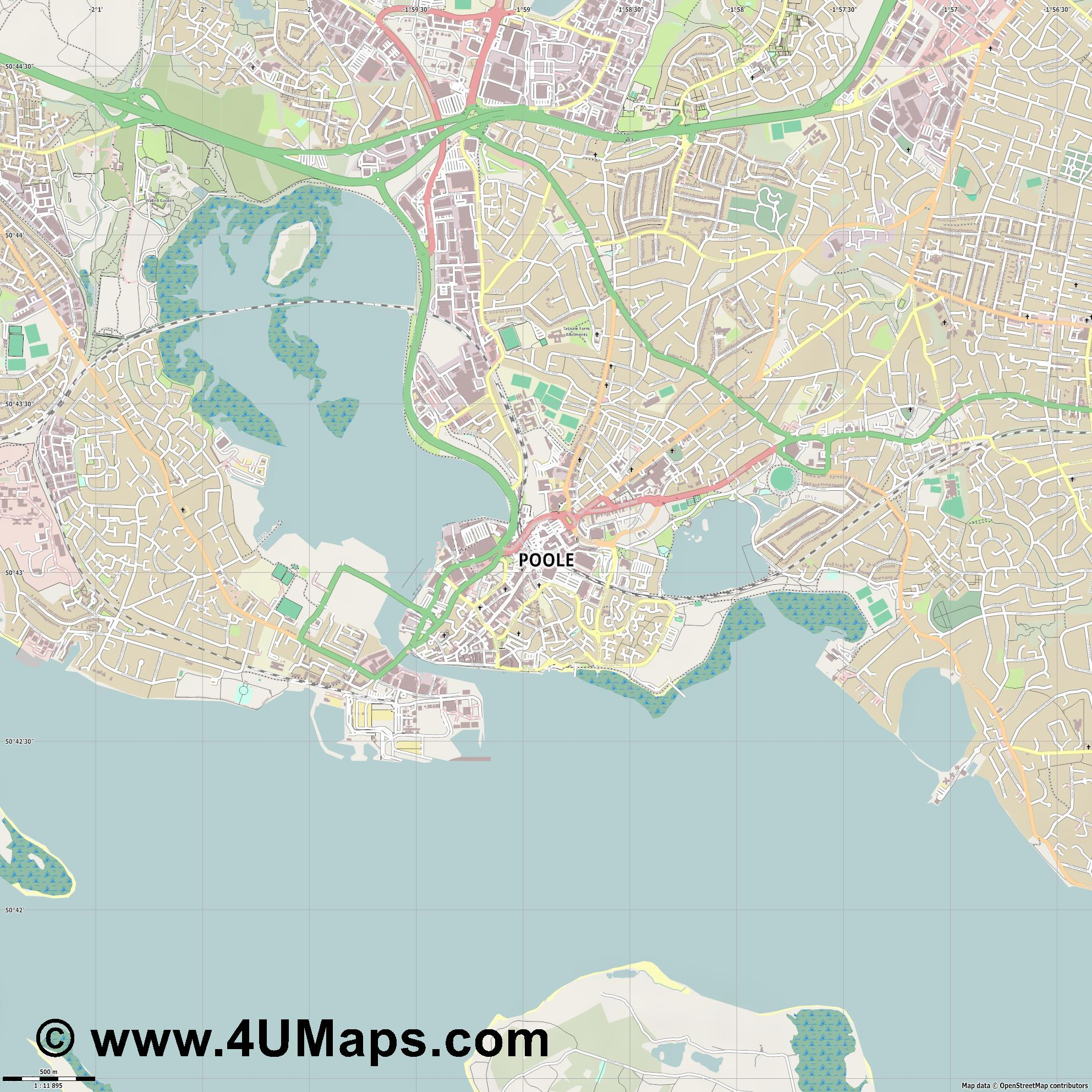 Poole  jpg ultra high detail preview vector city map