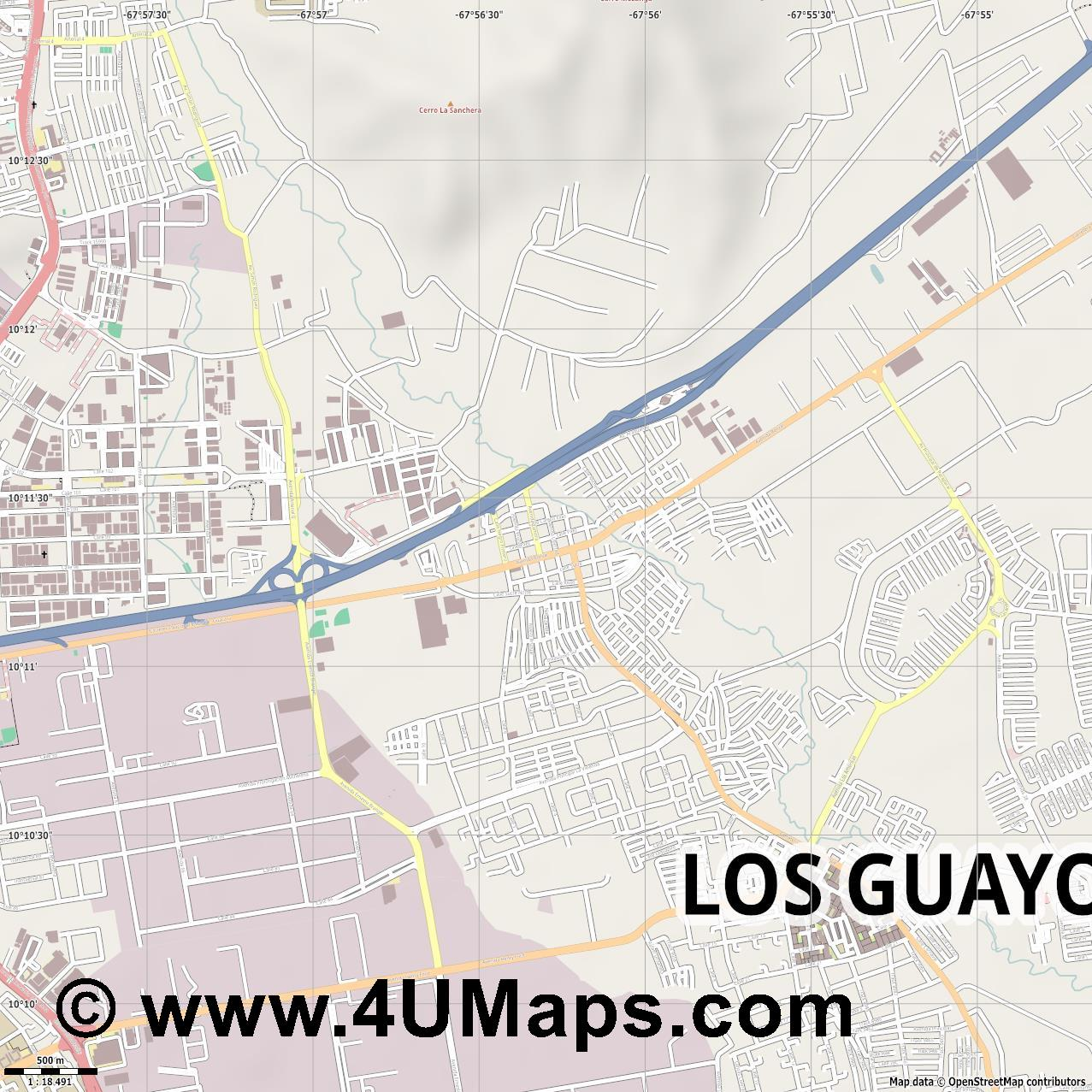 Los Guayos  jpg ultra high detail preview vector city map