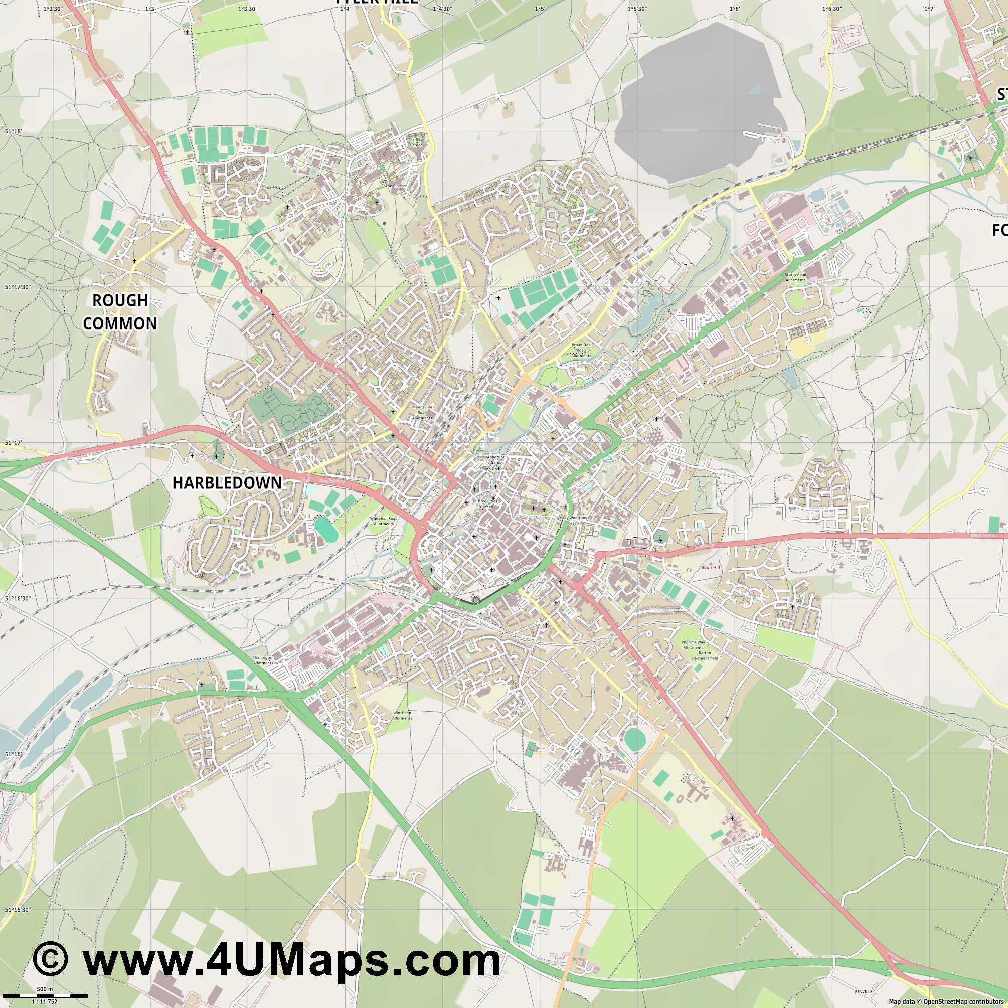 Canterbury Cantorbéry  jpg ultra high detail preview vector city map