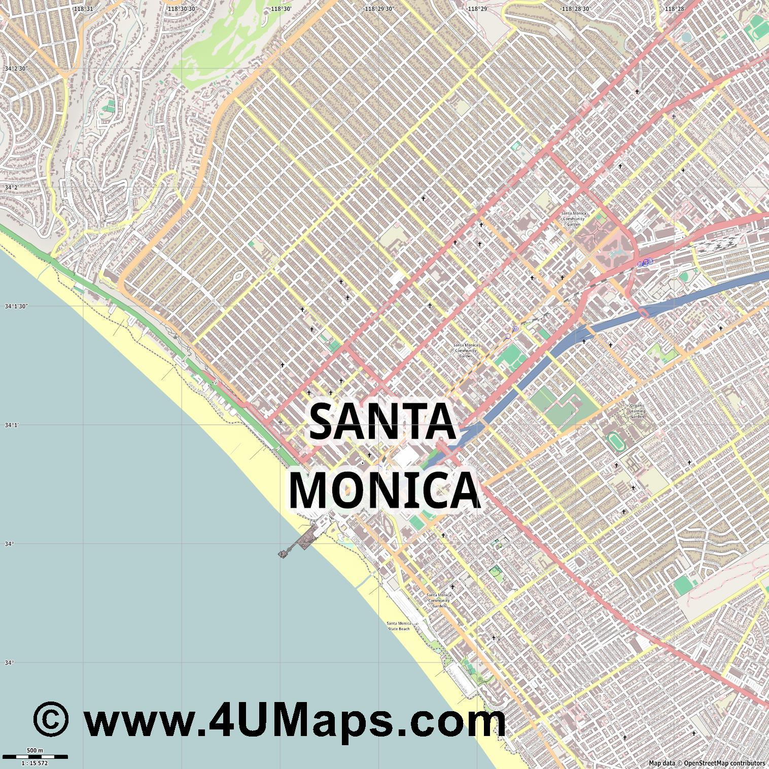 Santa Monica  jpg ultra high detail preview vector city map