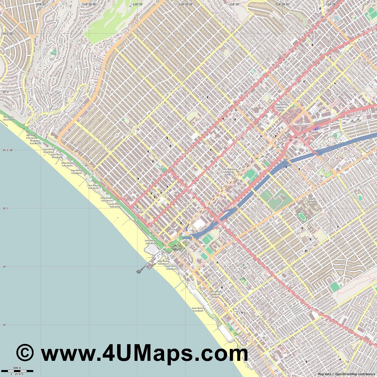 PDF, Svg Scalable Vector City Map Santa Monica