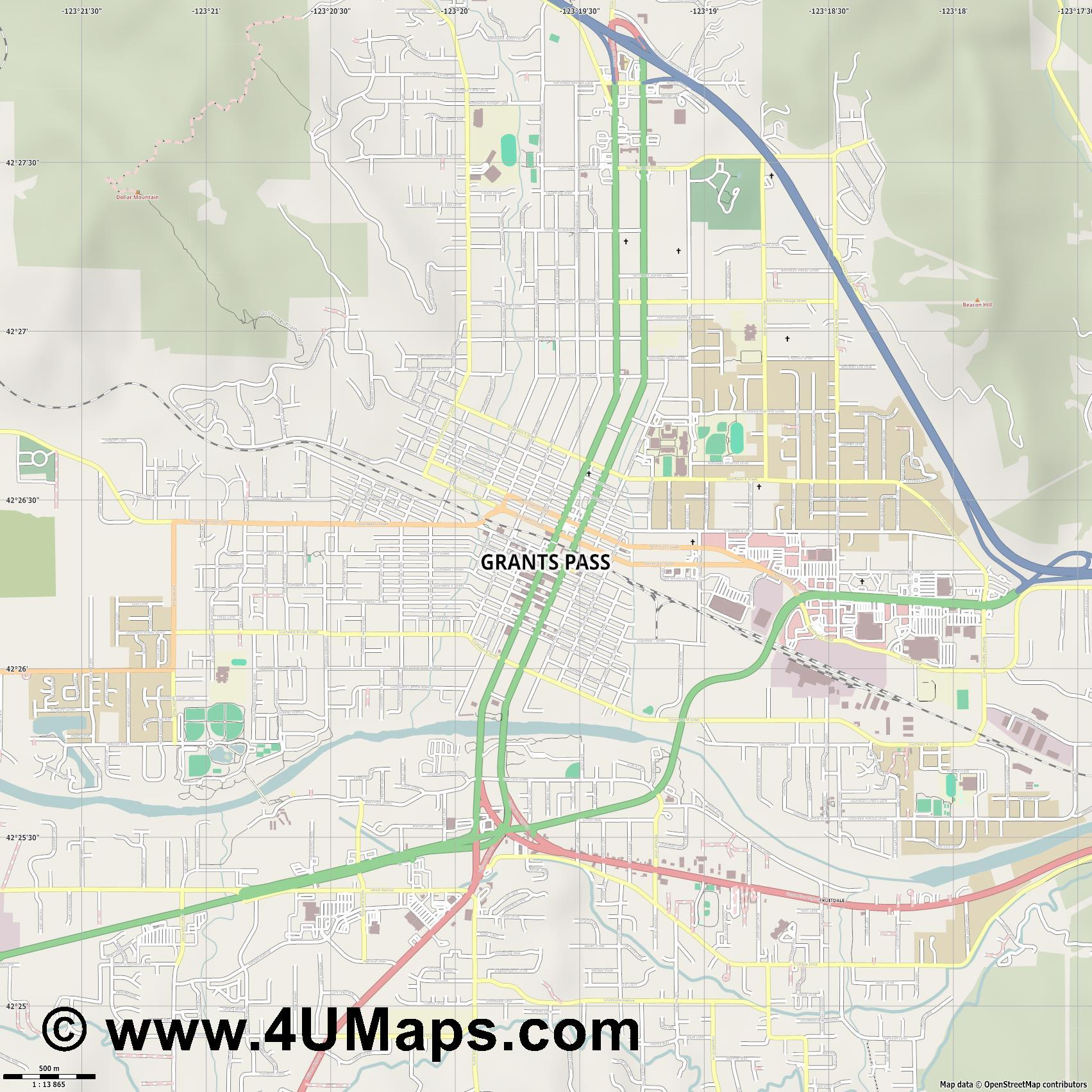 Grants Pass  jpg ultra high detail preview vector city map