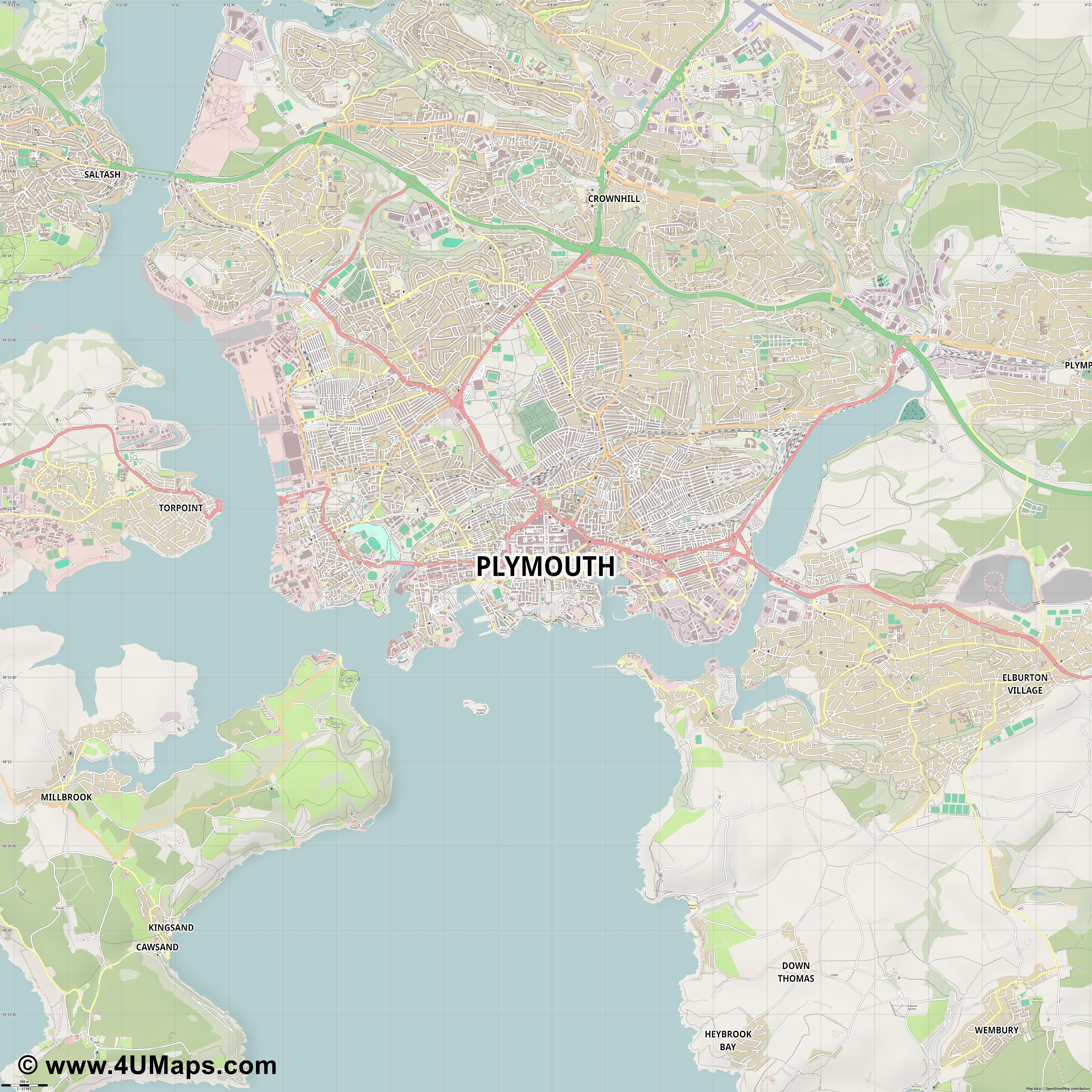 Plymouth  jpg ultra high detail preview vector city map