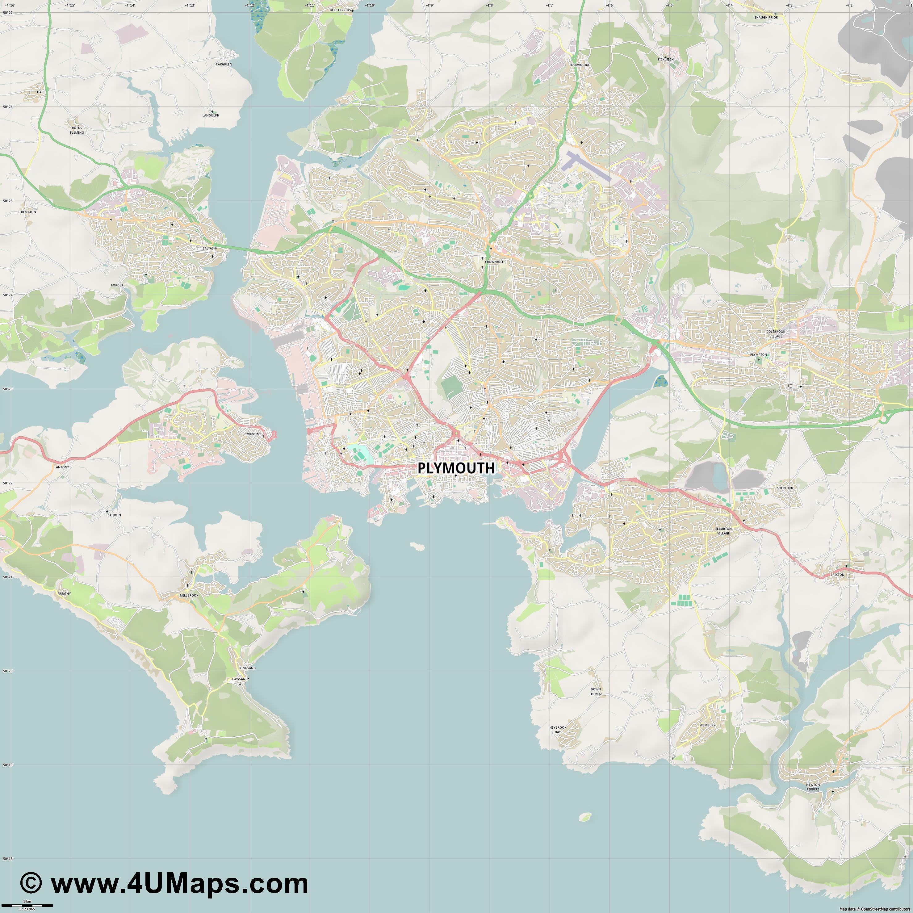 Plymouth  jpg high detail, large area preview vector city map