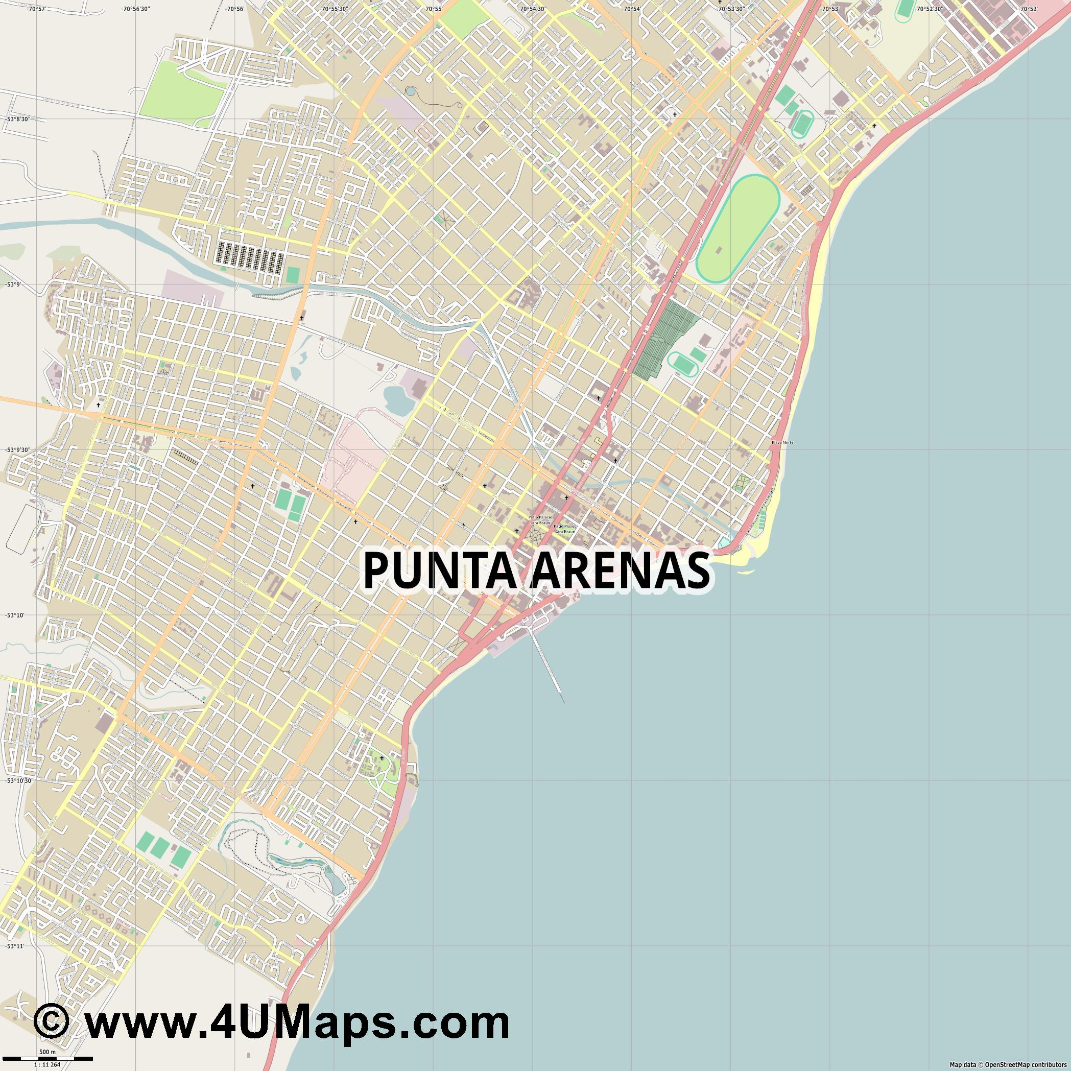Punta Arenas  jpg ultra high detail preview vector city map