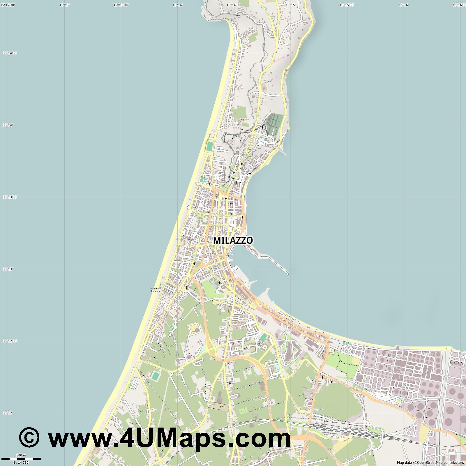 Milazzo  jpg ultra high detail preview vector city map