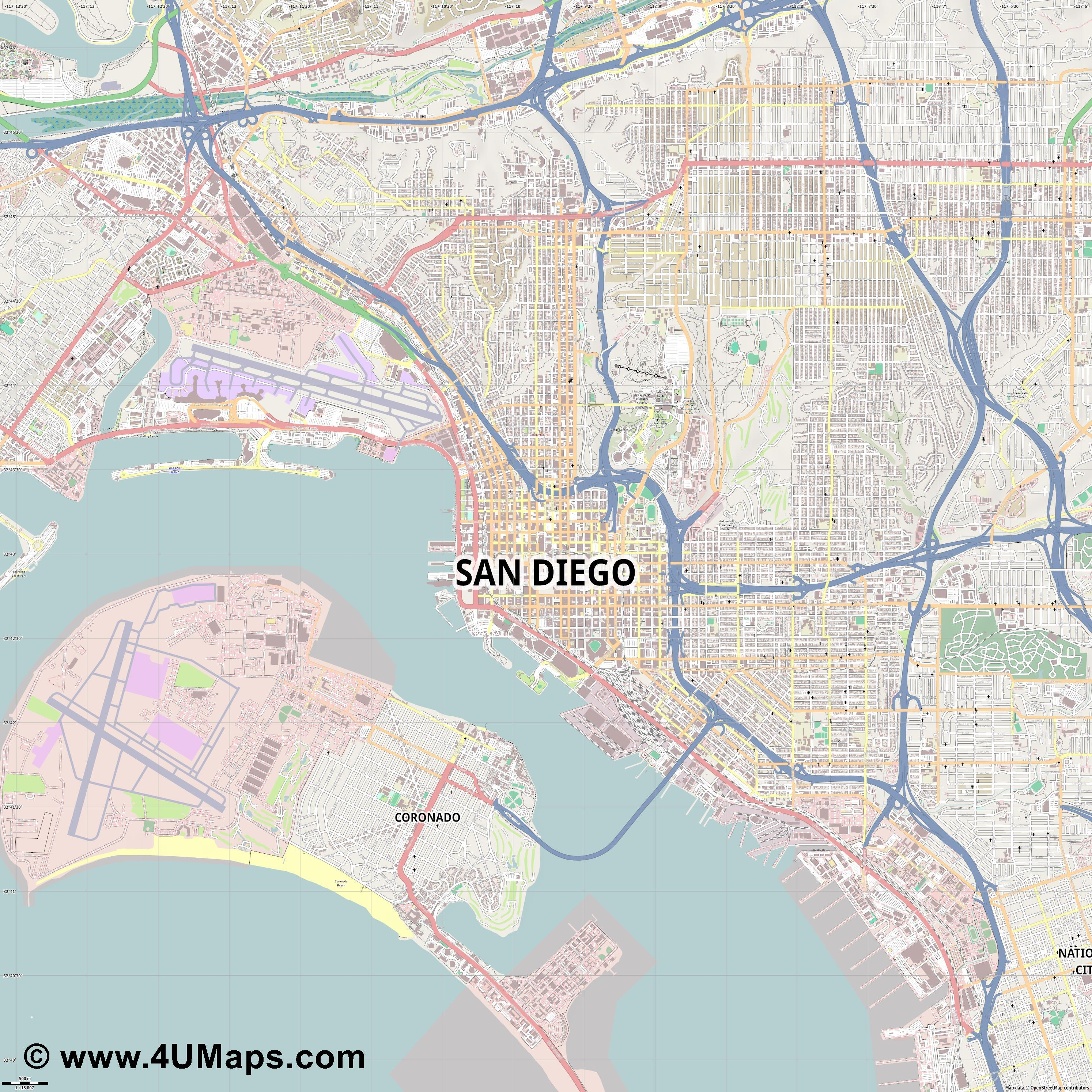 San Diego  jpg ultra high detail preview vector city map