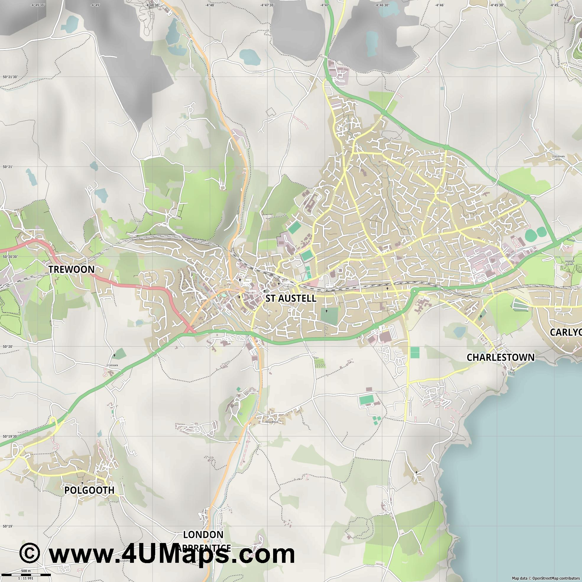 St Austell  jpg ultra high detail preview vector city map
