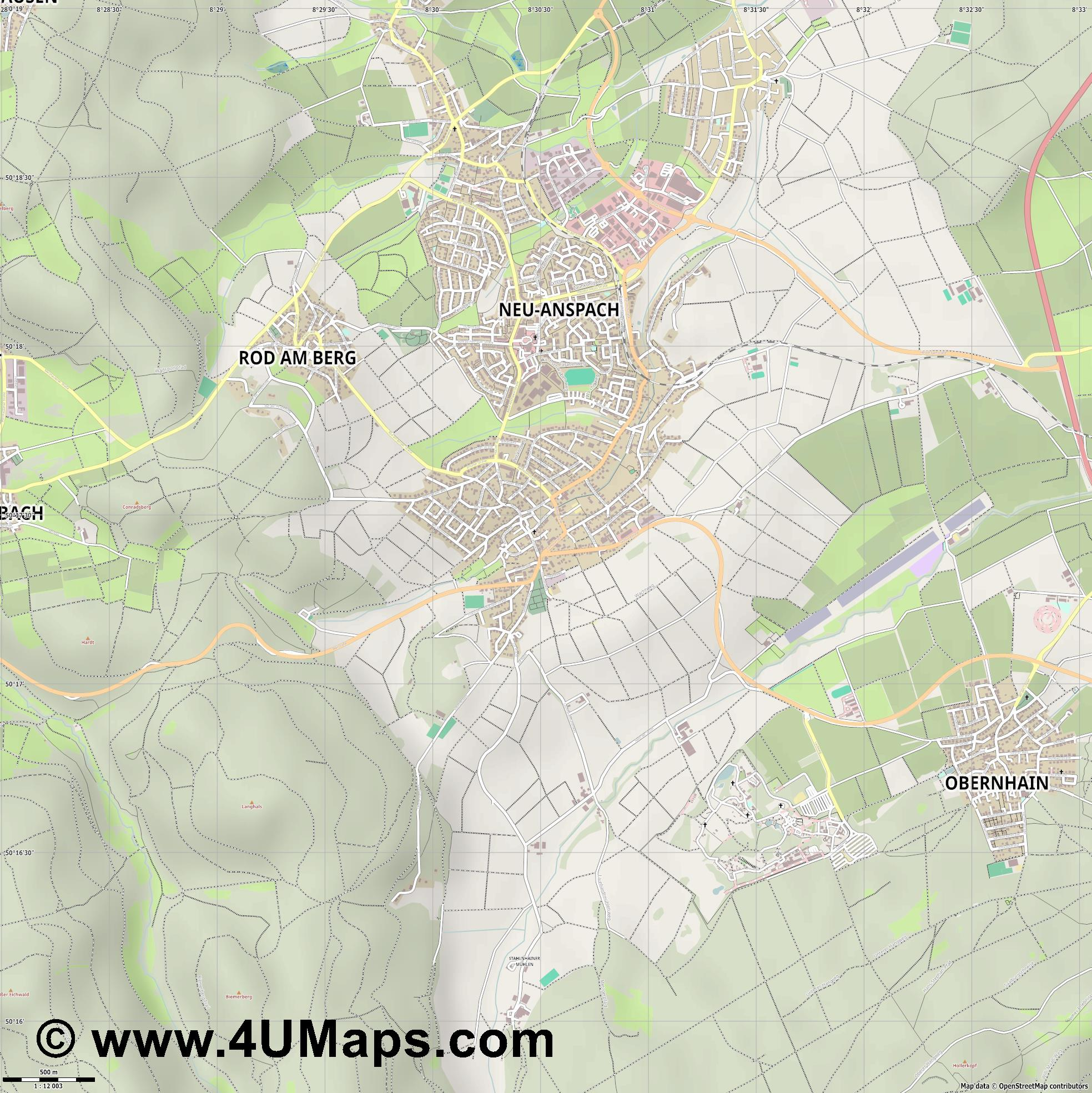 Neu Anspach  jpg ultra high detail preview vector city map