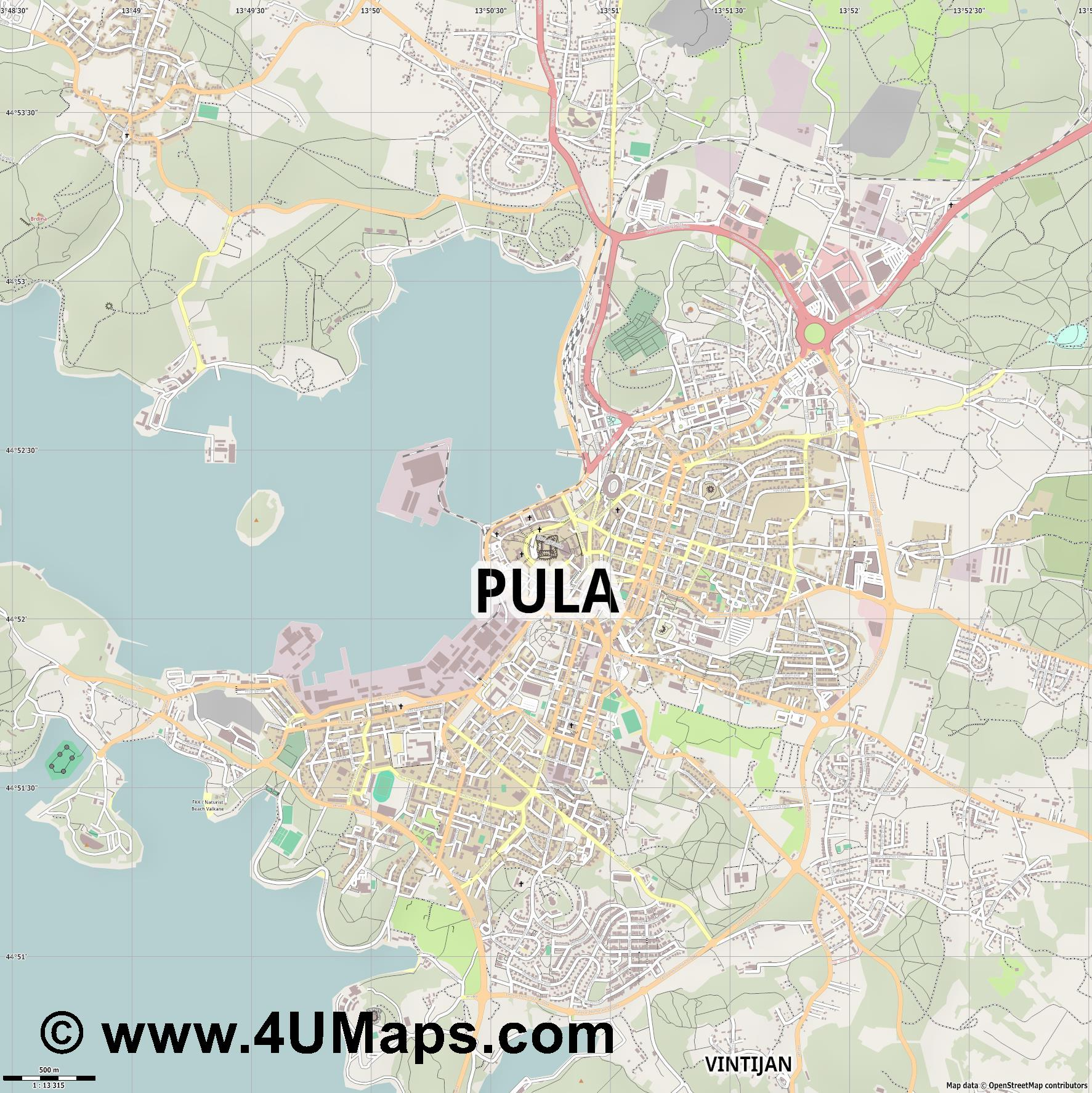Pula Pola  jpg ultra high detail preview vector city map