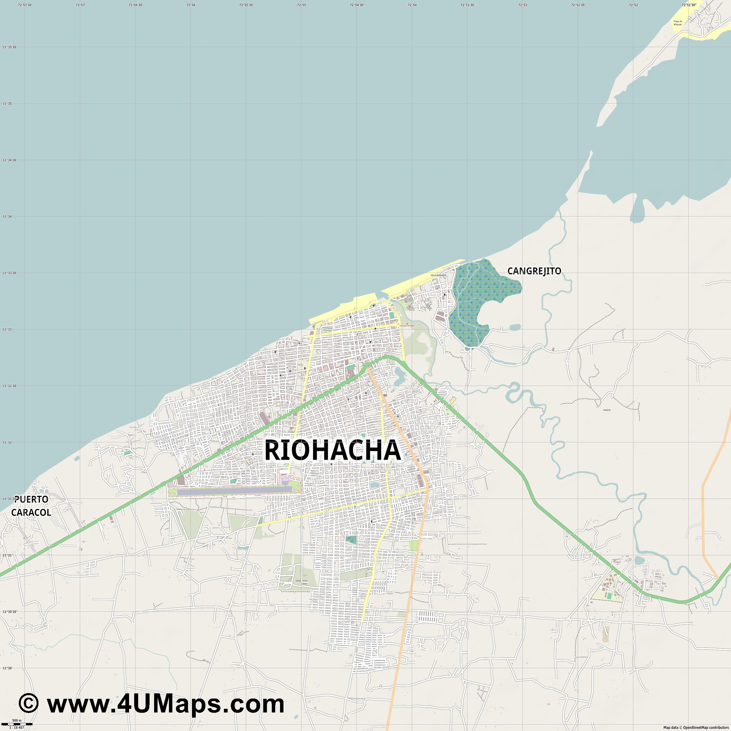 Riohacha  jpg ultra high detail preview vector city map
