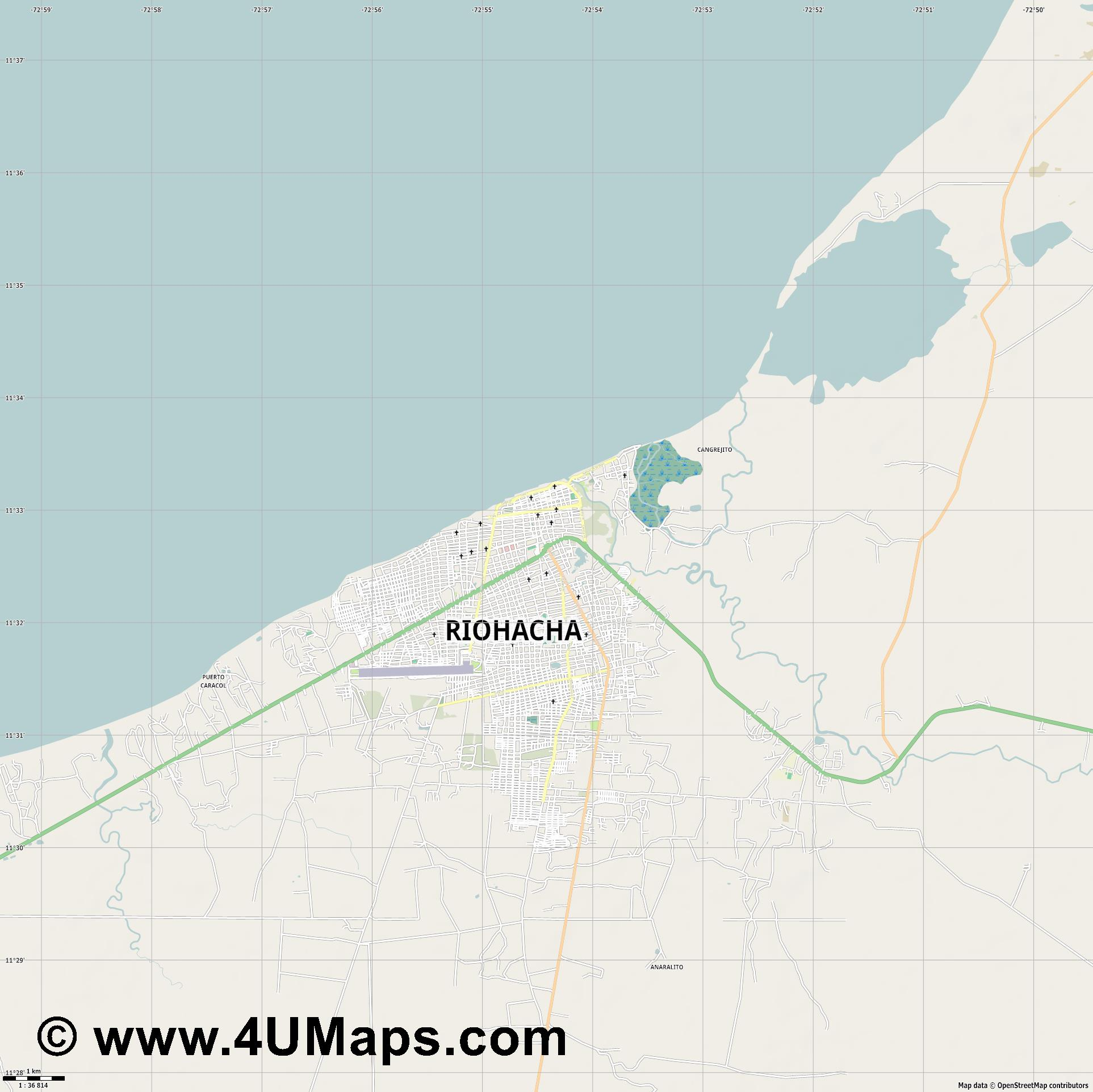 Riohacha  jpg high detail, large area preview vector city map