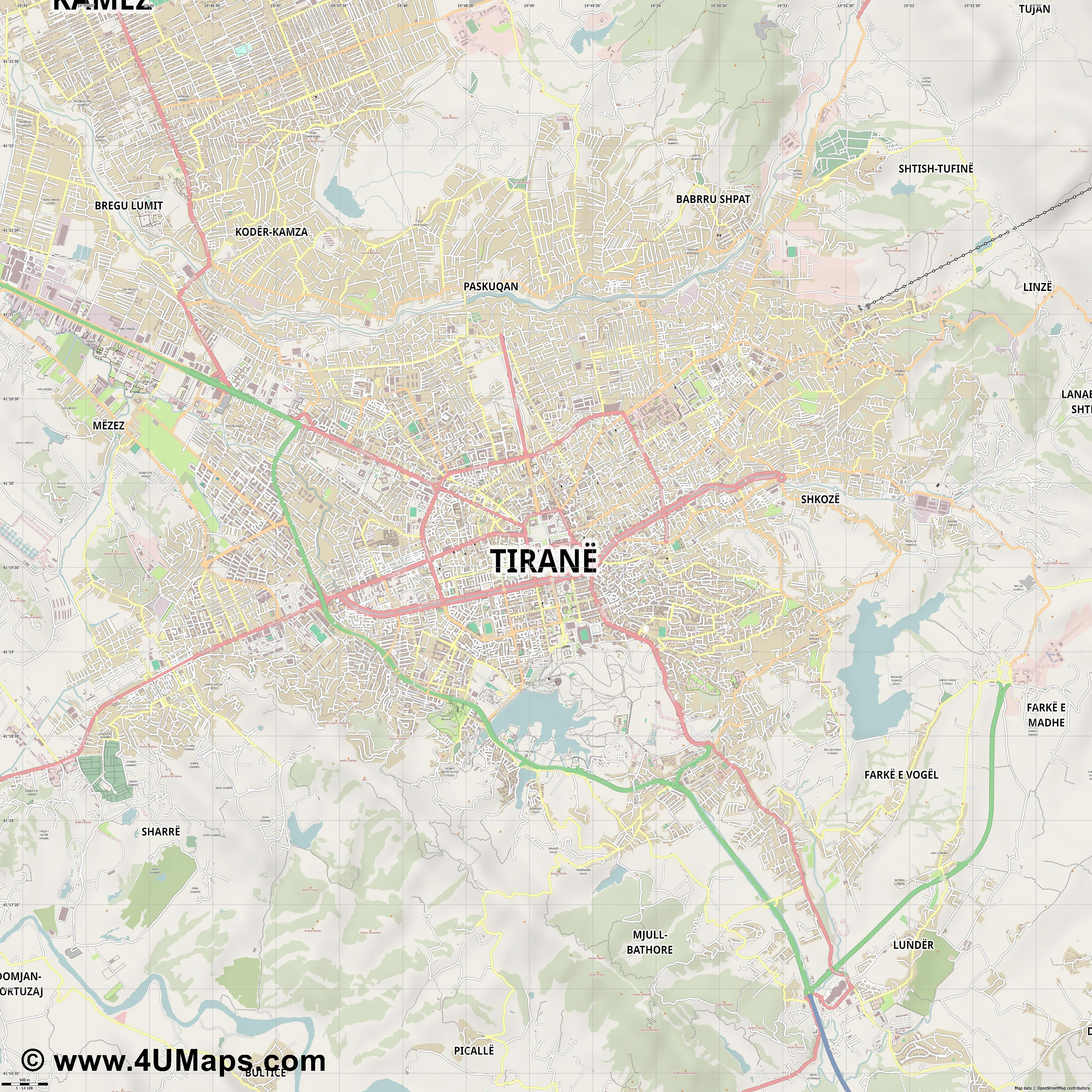 PDF Svg Scalable Vector City Map Tirana