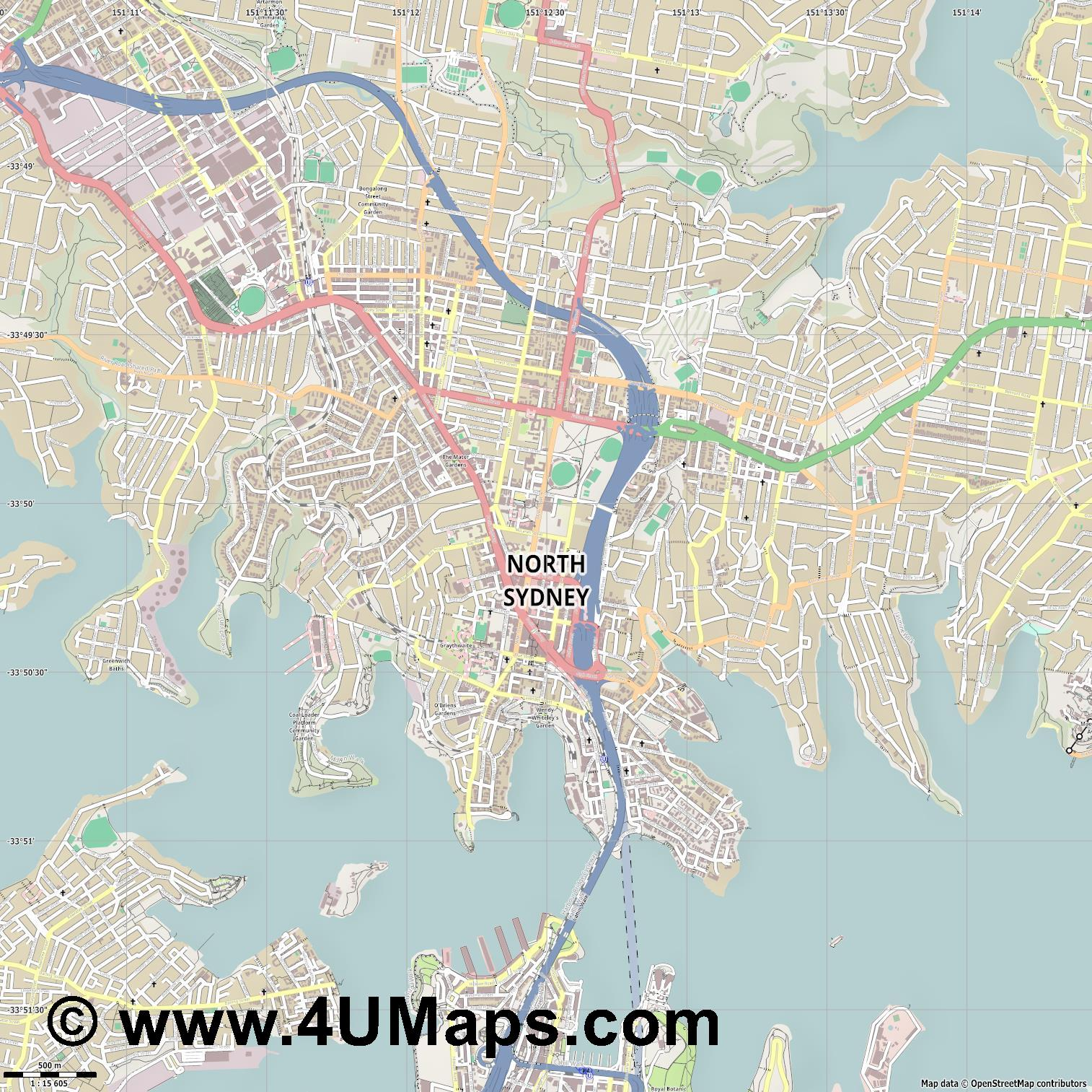 North Sydney  jpg ultra high detail preview vector city map