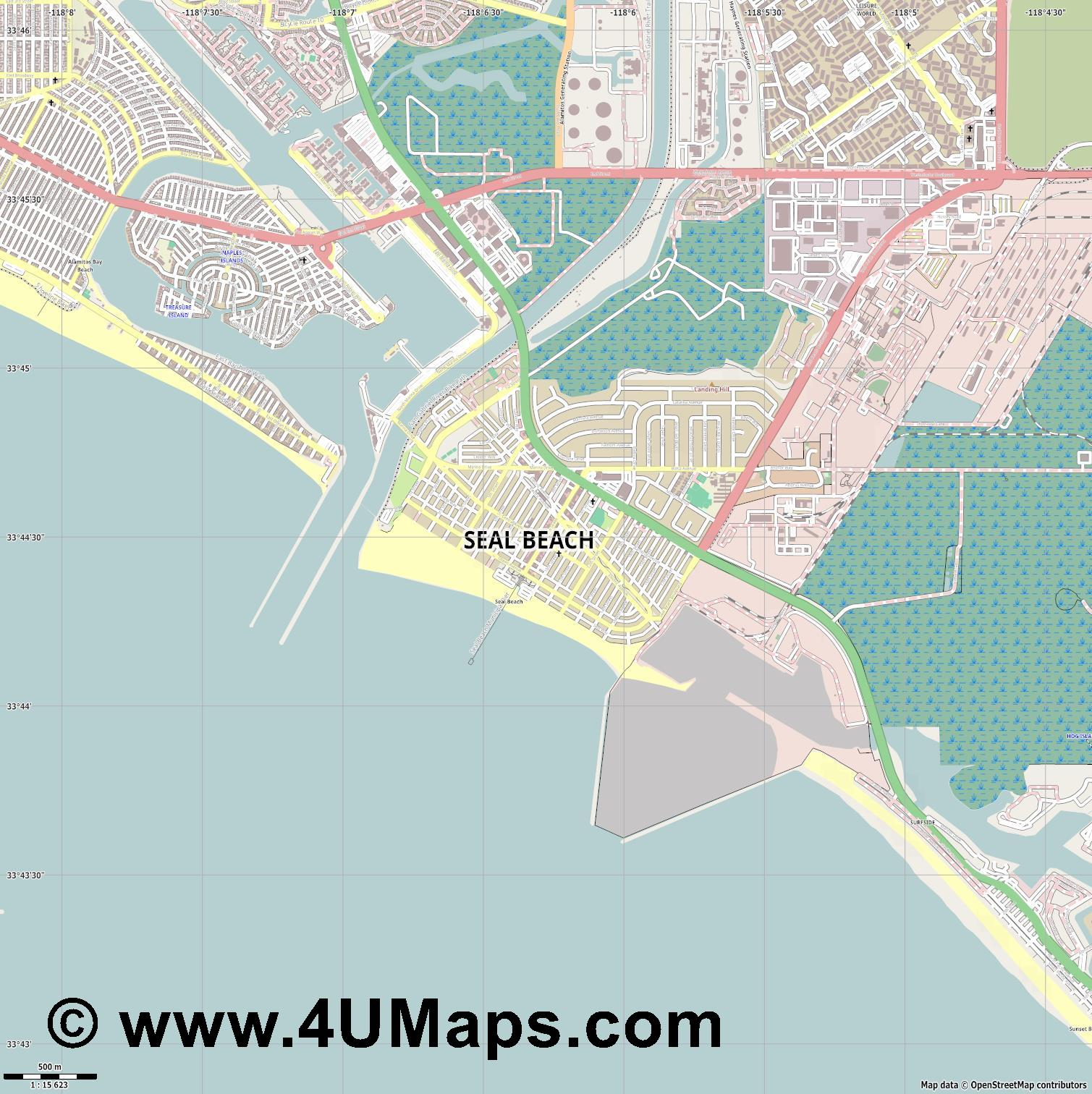 Seal Beach  jpg ultra high detail preview vector city map