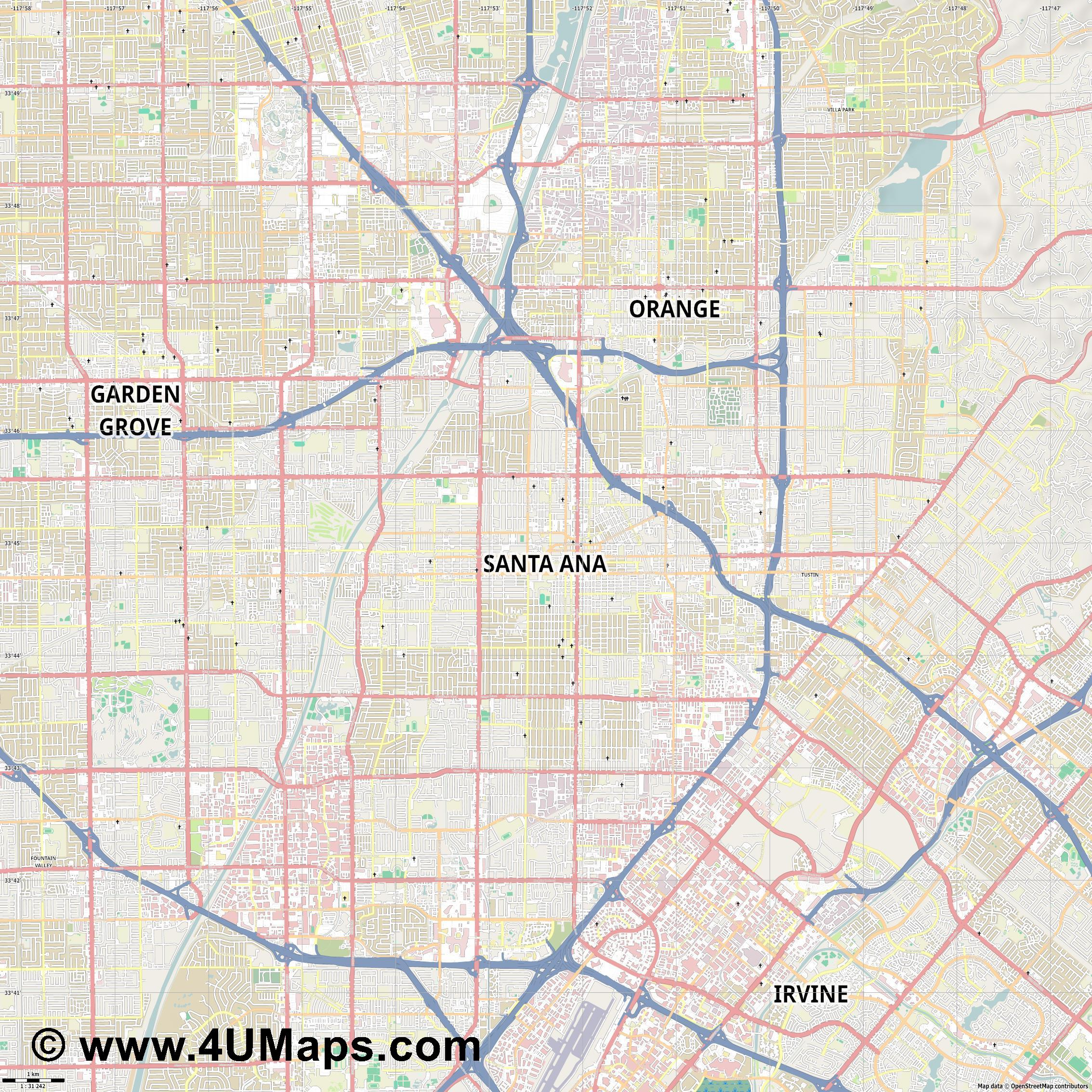 Santa Ana  jpg high detail, large area preview vector city map