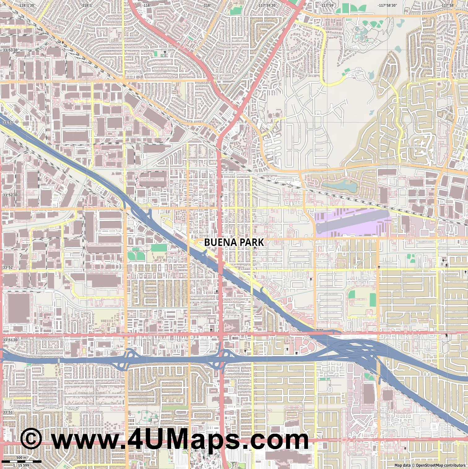 Buena Park  jpg ultra high detail preview vector city map
