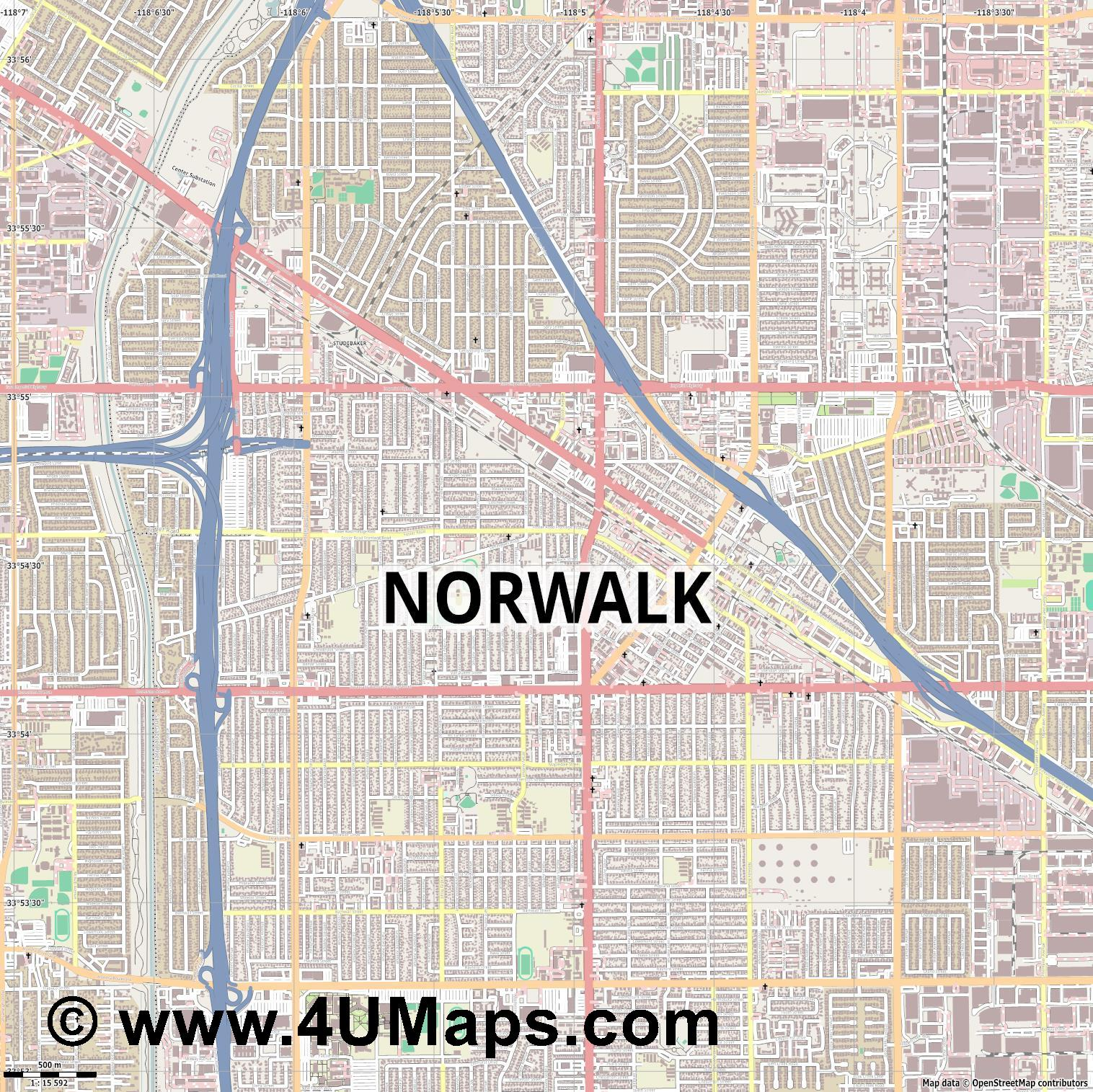 Norwalk  jpg ultra high detail preview vector city map