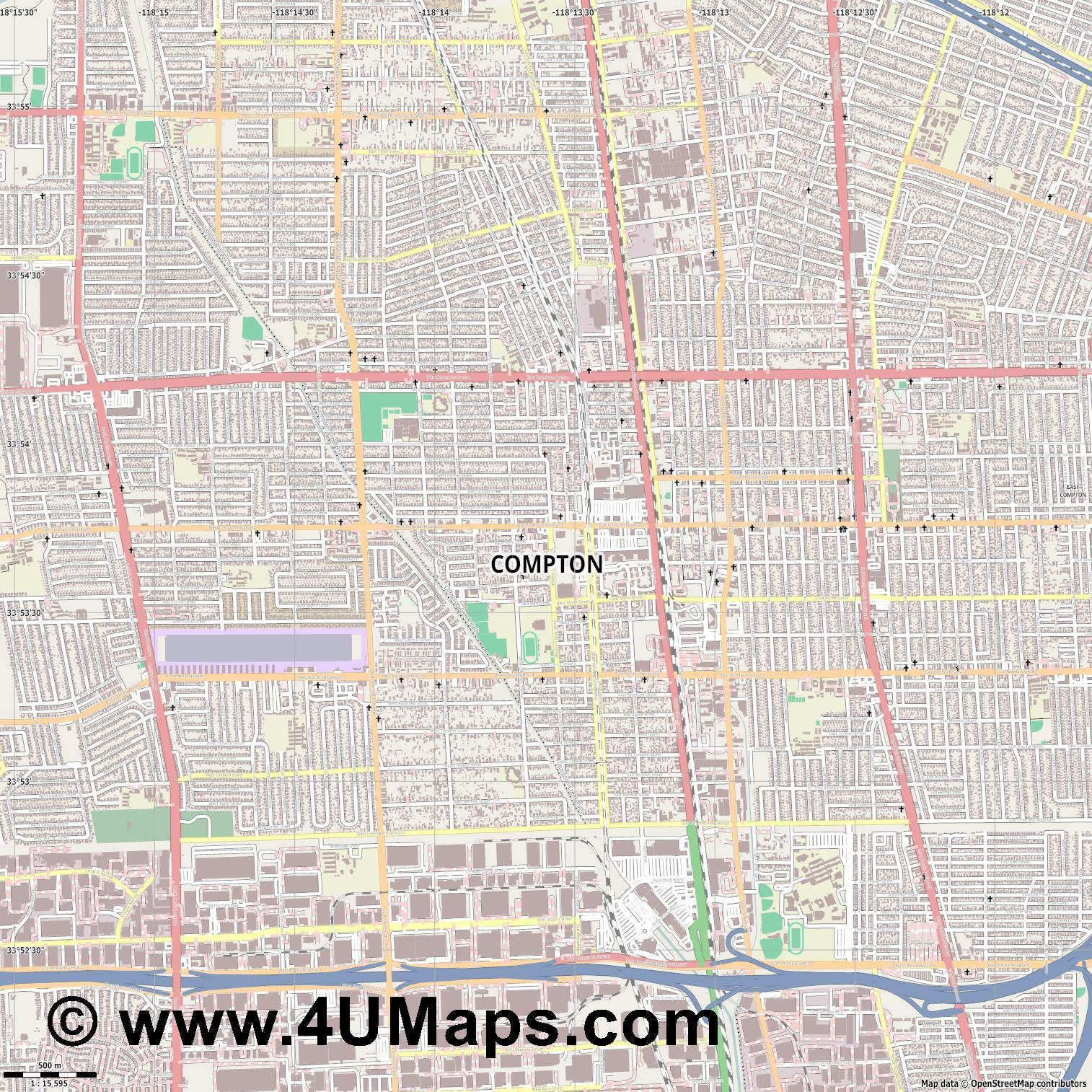 Compton  jpg ultra high detail preview vector city map