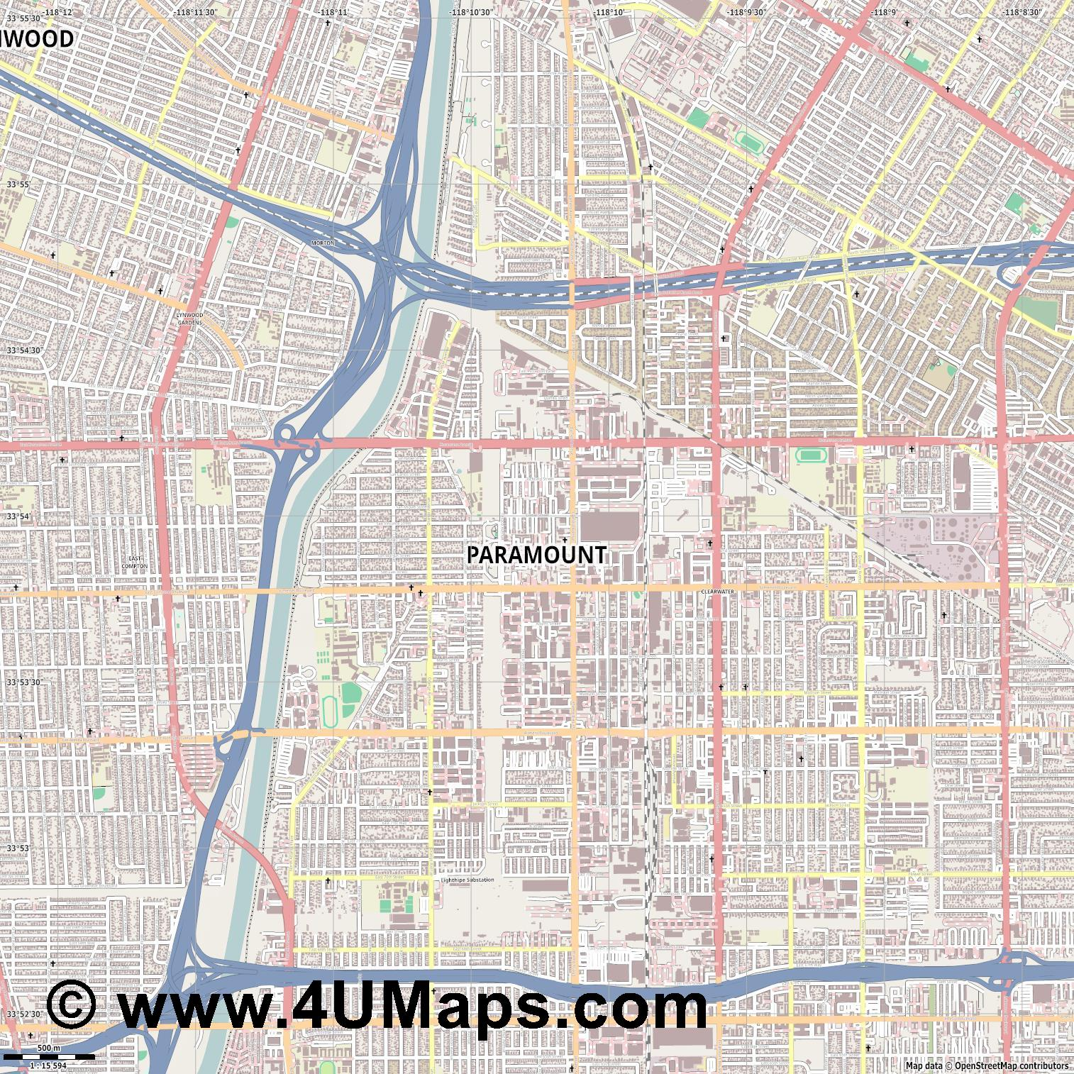 Paramount  jpg ultra high detail preview vector city map