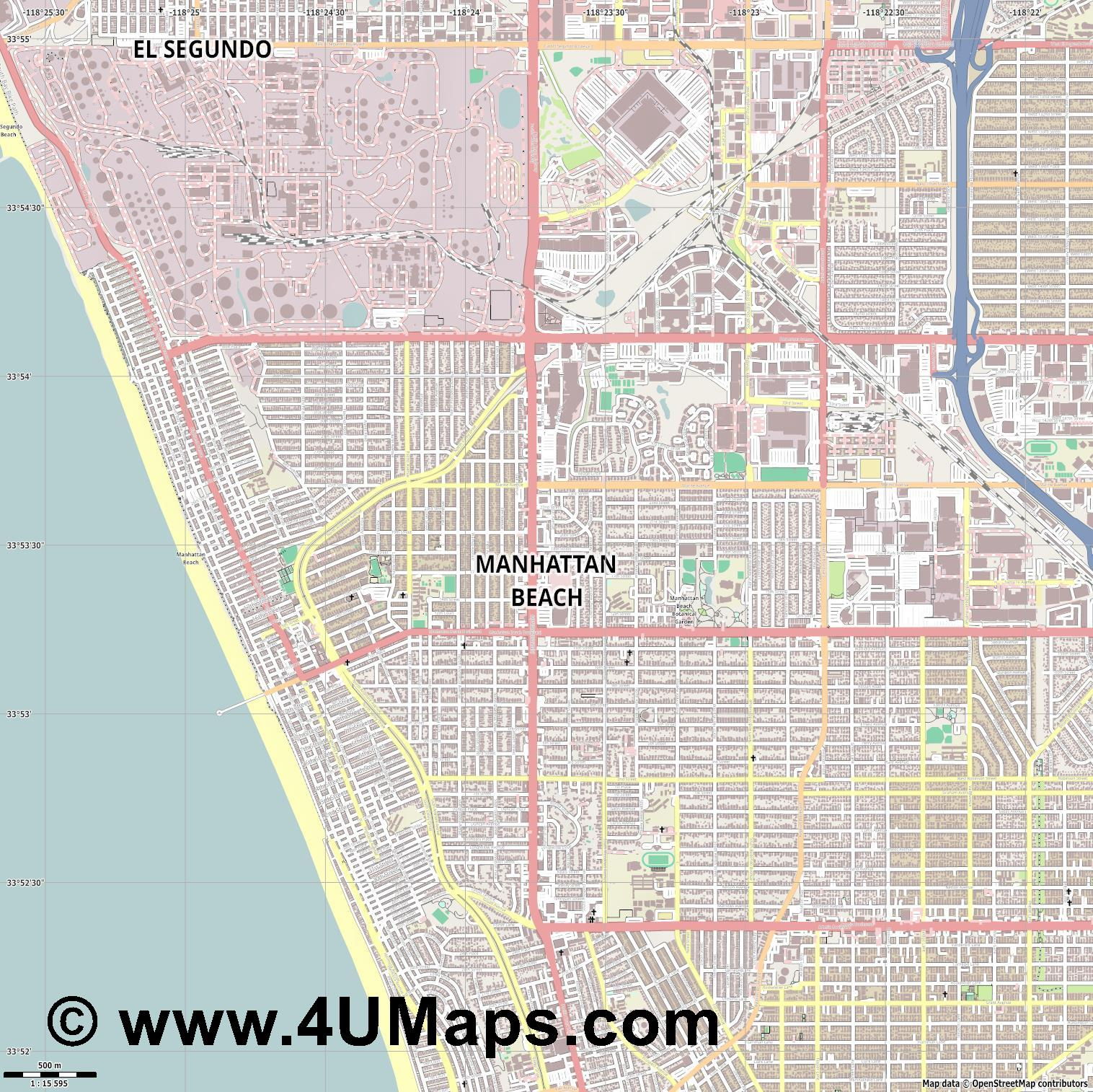 Manhattan Beach  jpg ultra high detail preview vector city map