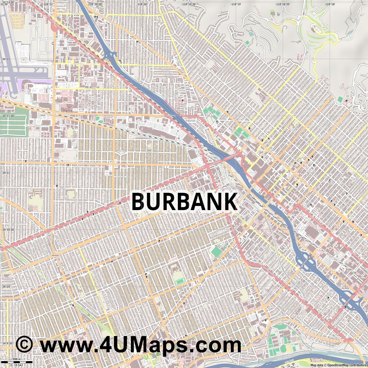 Burbank  jpg ultra high detail preview vector city map