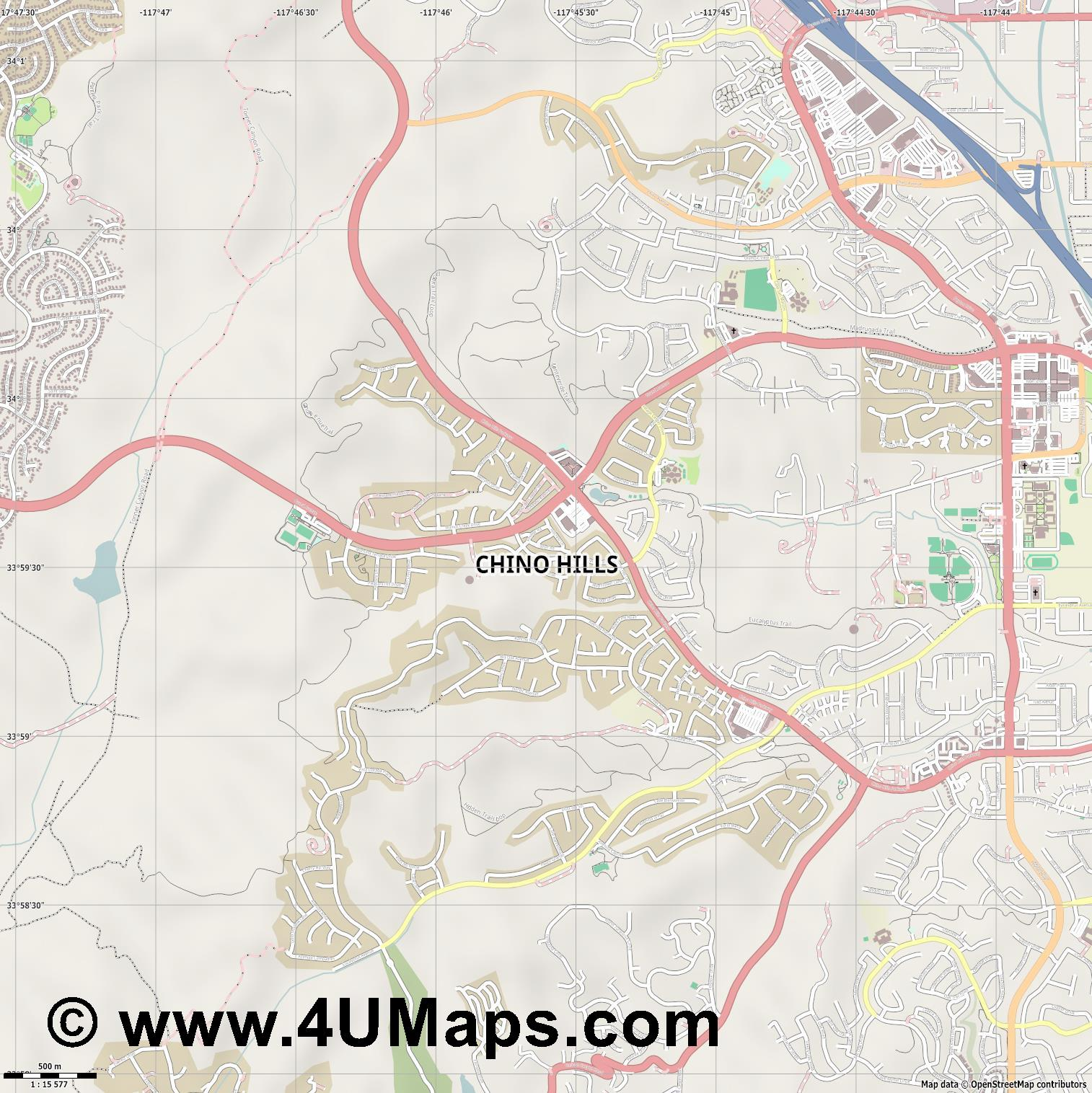 Chino Hills  jpg ultra high detail preview vector city map