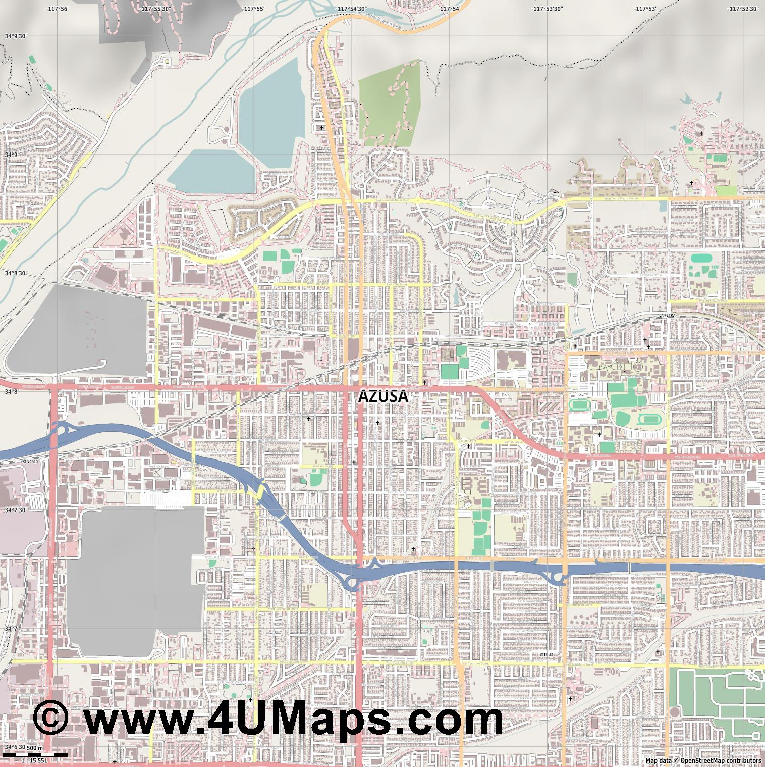 Azusa  jpg ultra high detail preview vector city map