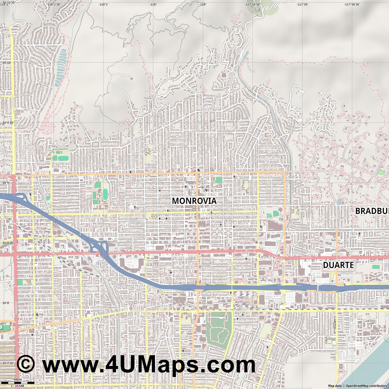 Monrovia  jpg ultra high detail preview vector city map