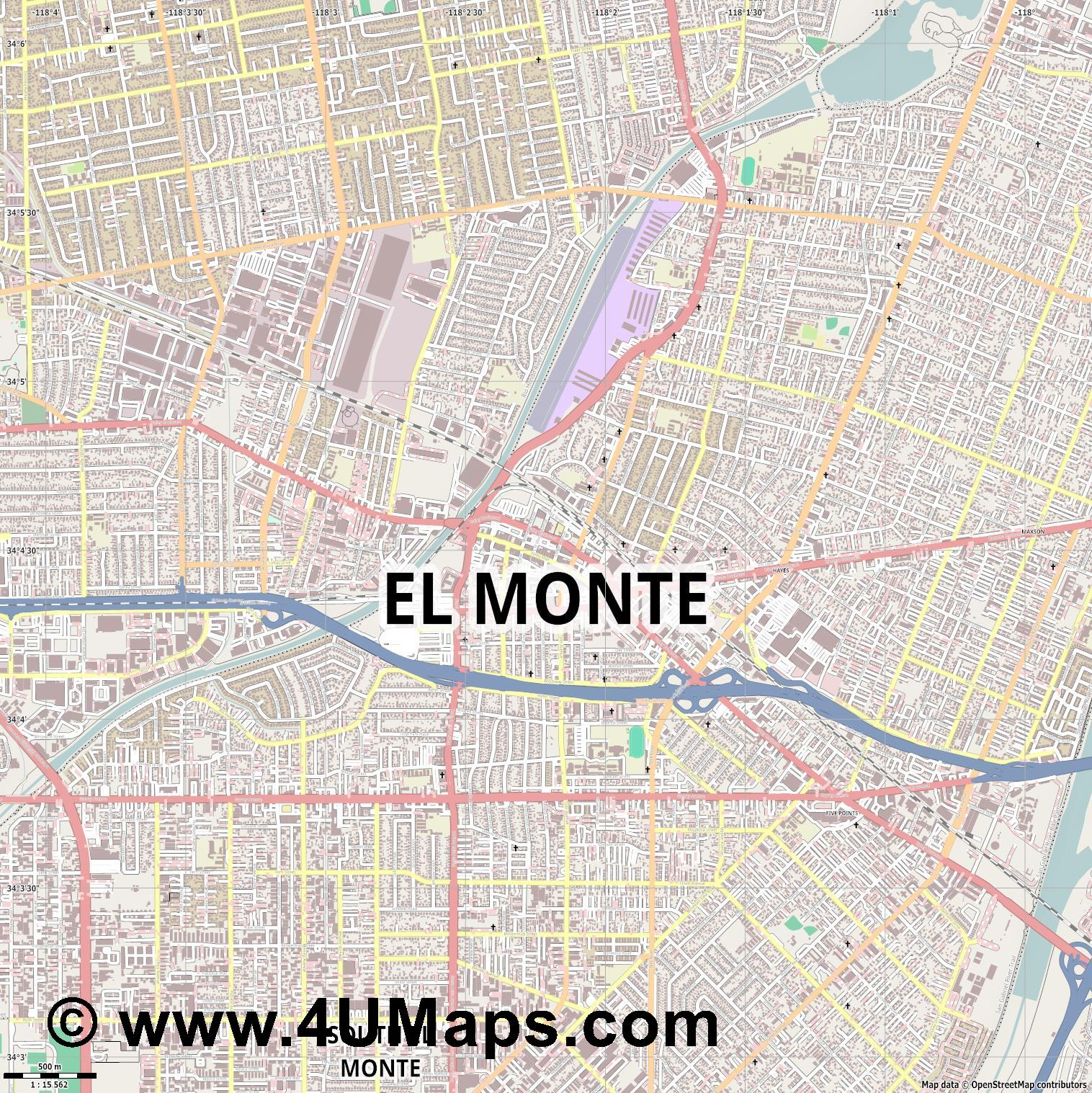 El Monte  jpg ultra high detail preview vector city map