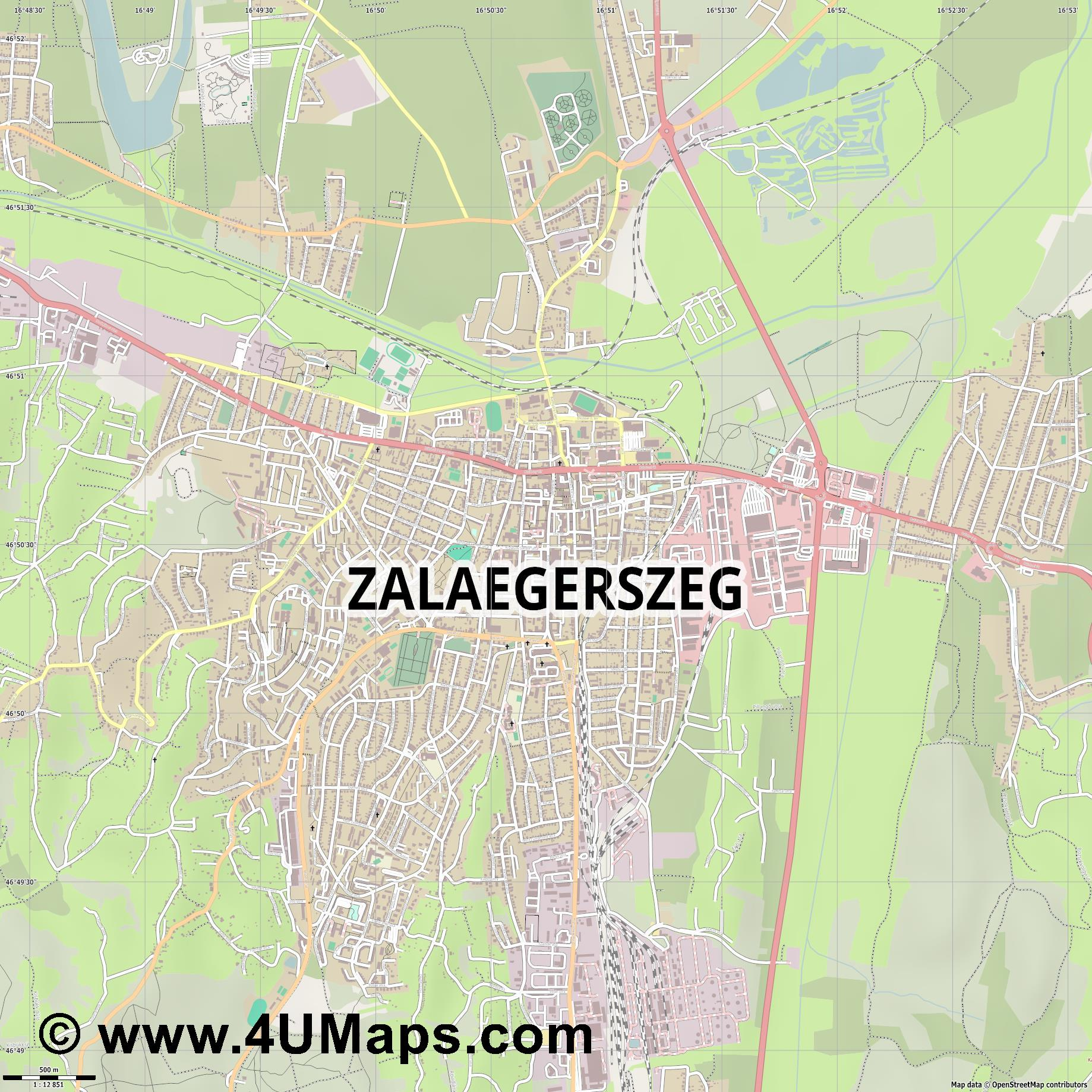 Zalaegerszeg Egersee  jpg ultra high detail preview vector city map