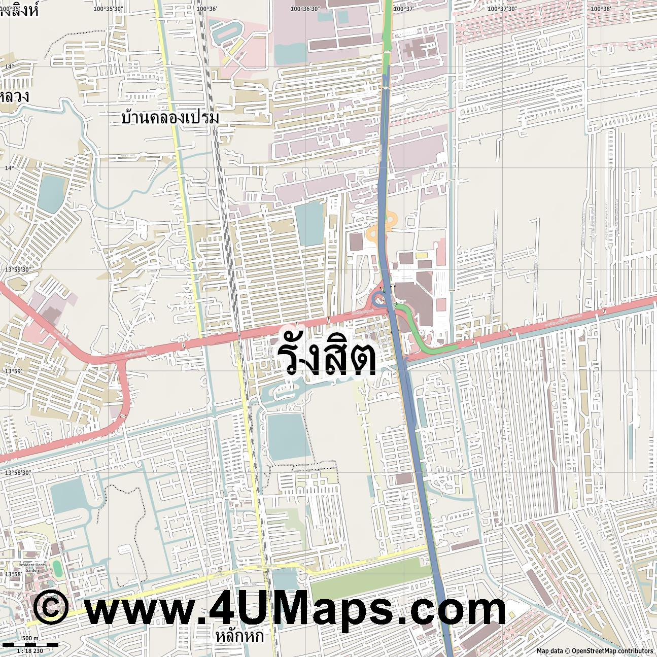 ร งส ต Rangsit  jpg ultra high detail preview vector city map