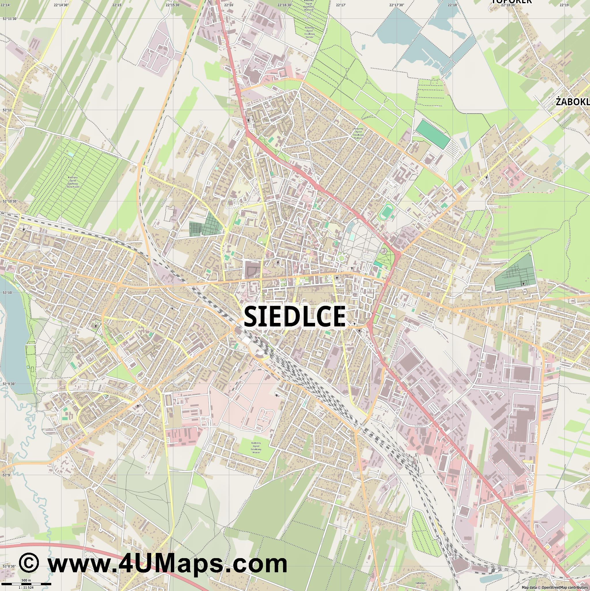 Siedlce Siedlez  jpg ultra high detail preview vector city map