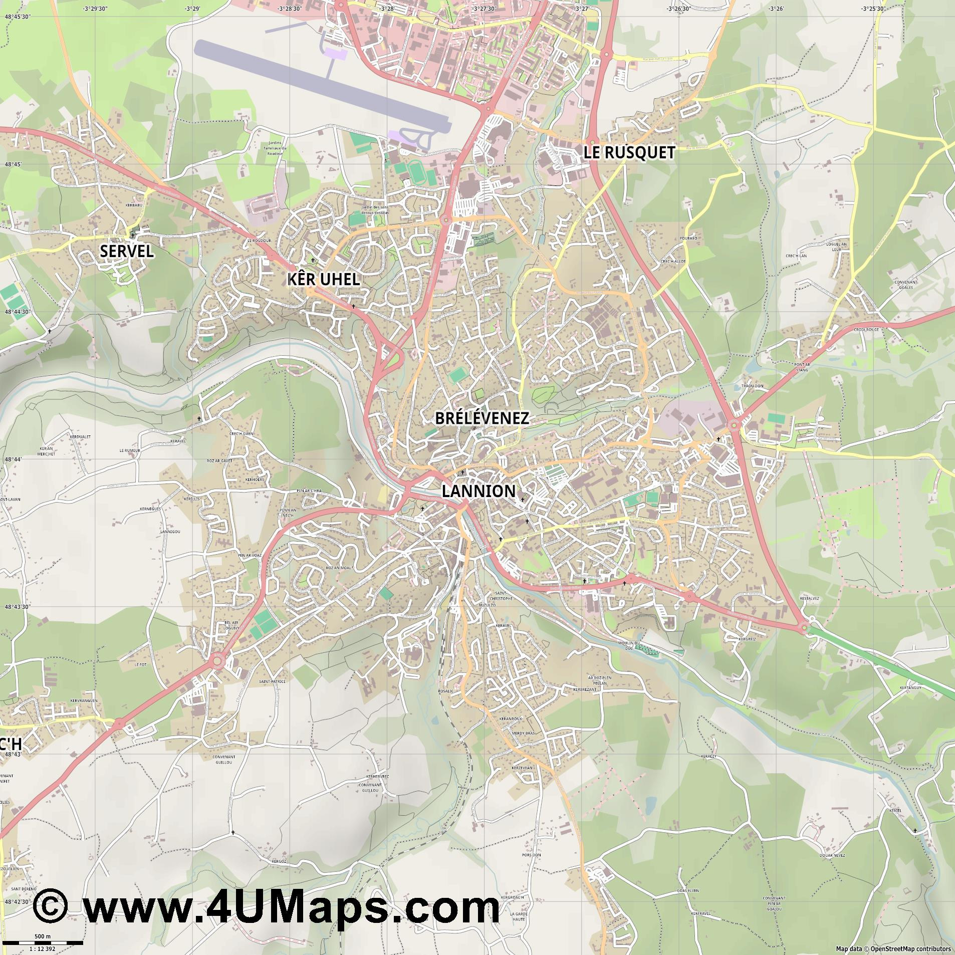 Lannion  jpg ultra high detail preview vector city map