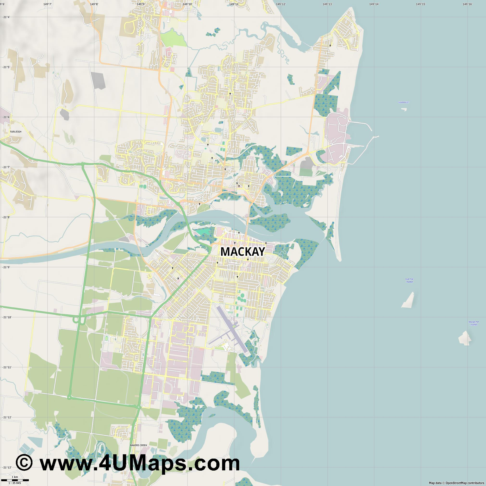 Mackay  jpg high detail, large area preview vector city map