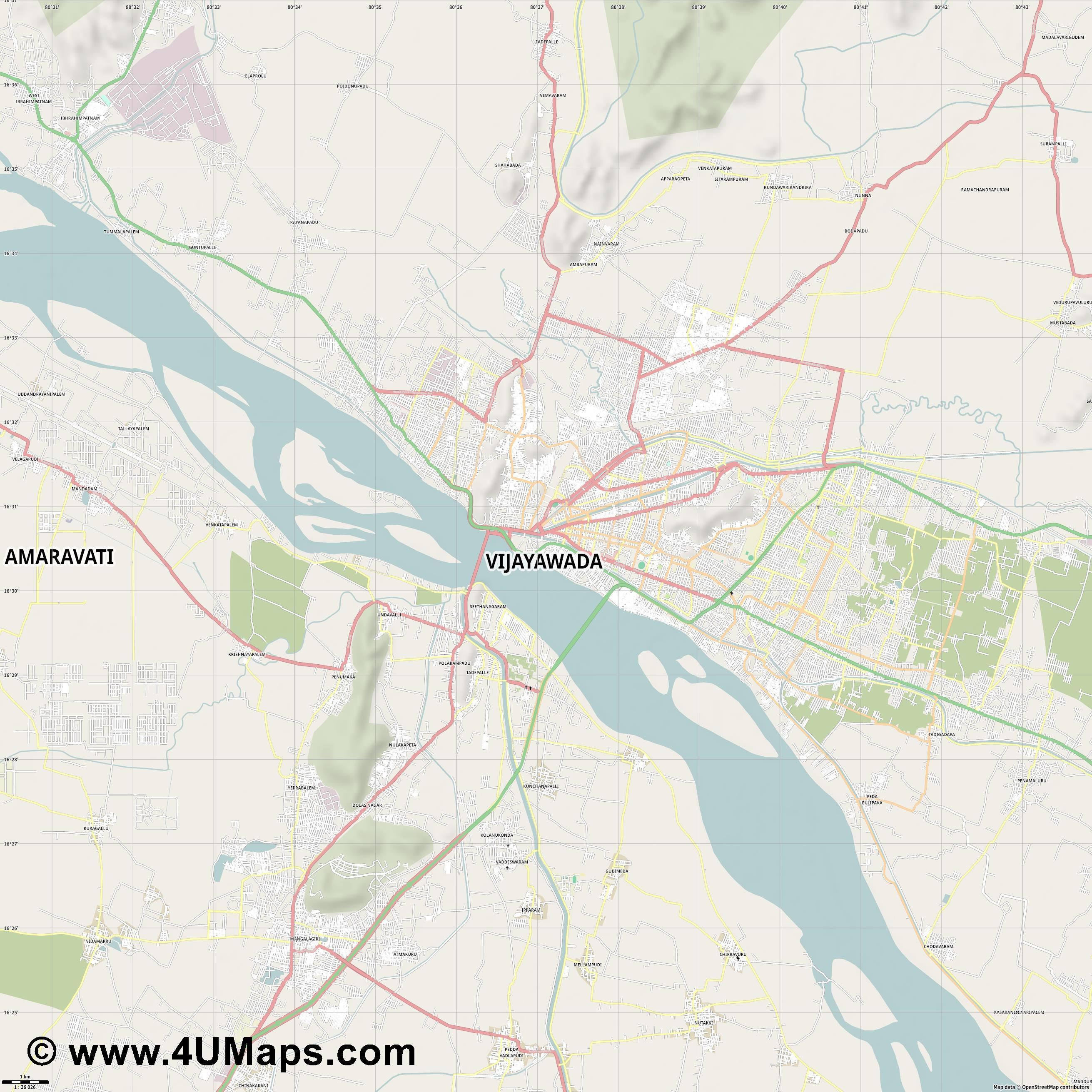 Vijayawada  jpg high detail, large area preview vector city map