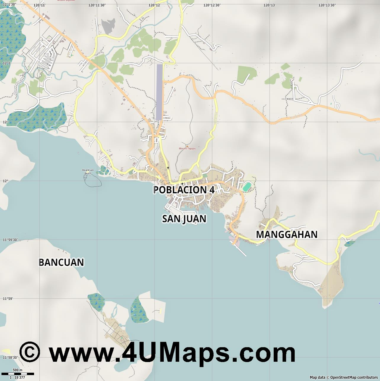 Coron  jpg ultra high detail preview vector city map