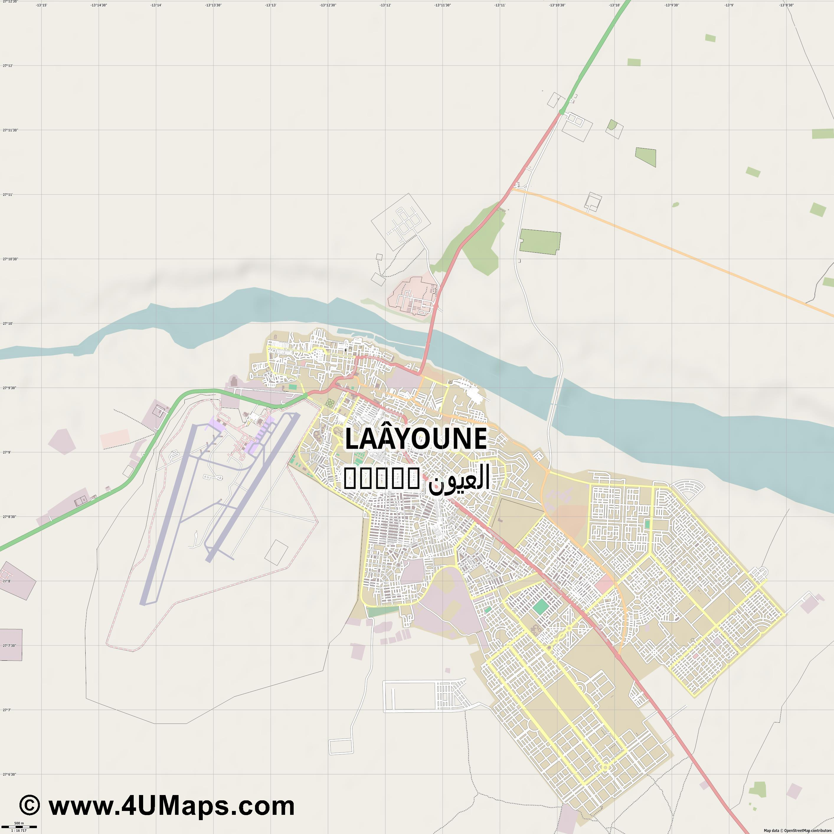Laâyoune العيون El Aaiún El Ayun Ajun  jpg ultra high detail preview vector city map