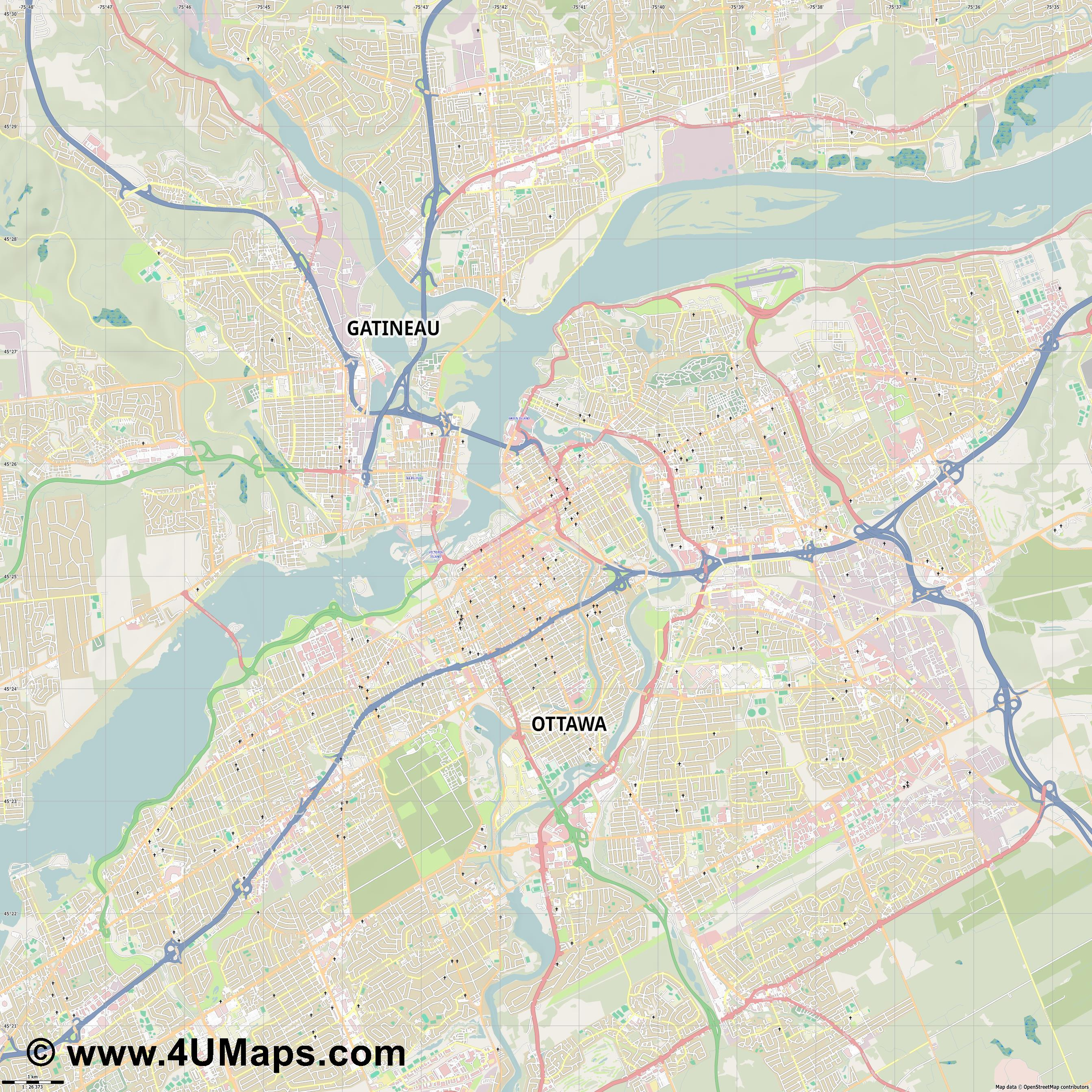 Ottawa  jpg high detail, large area preview vector city map